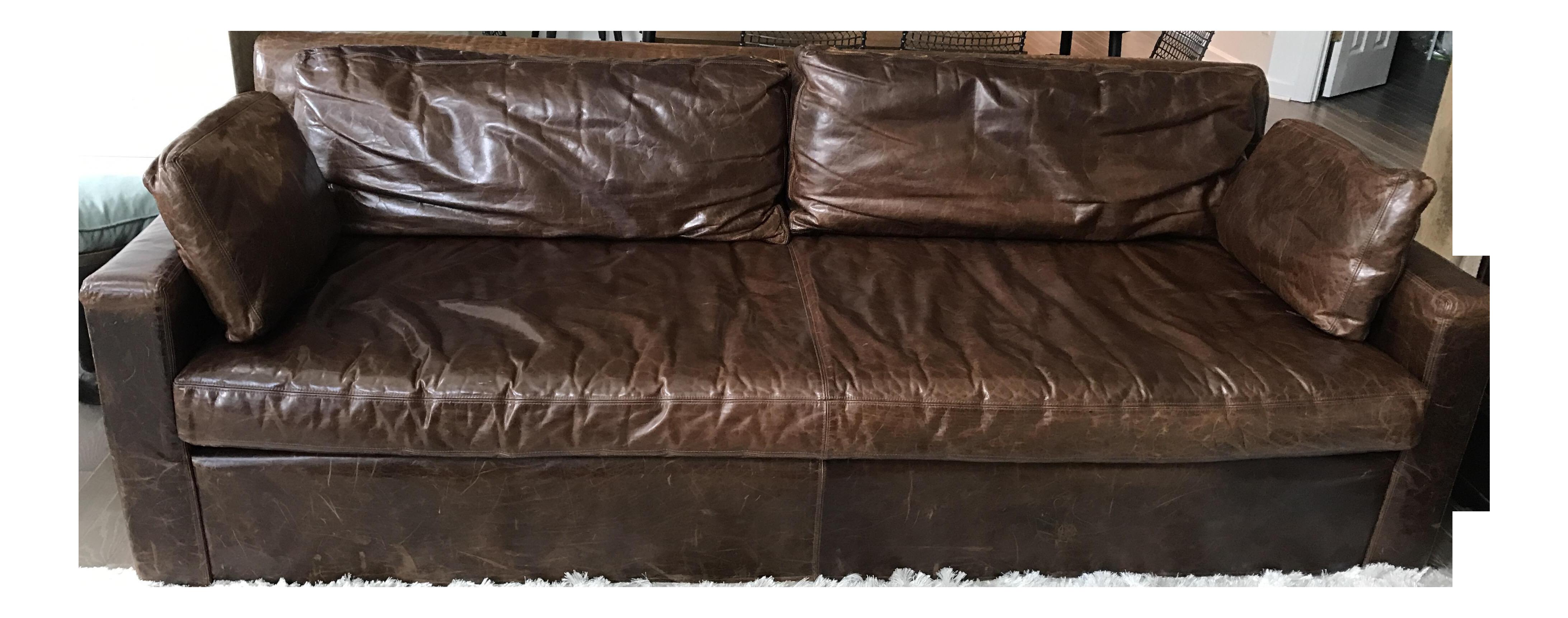 Restoration Hardware Belgian Track Arm Leather Sofa