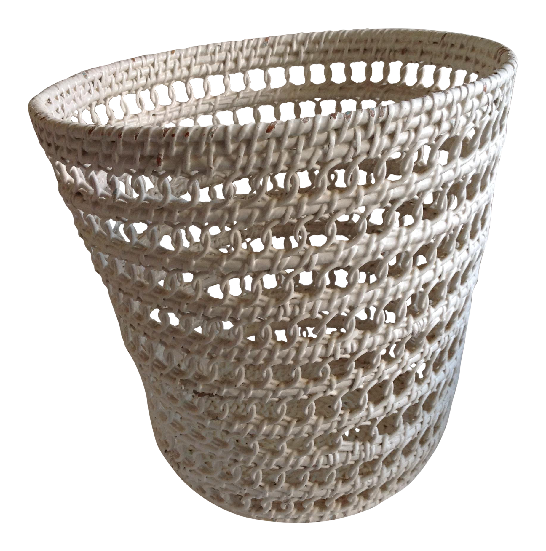 White wicker vintage waste basket chairish - Wicker trash basket ...