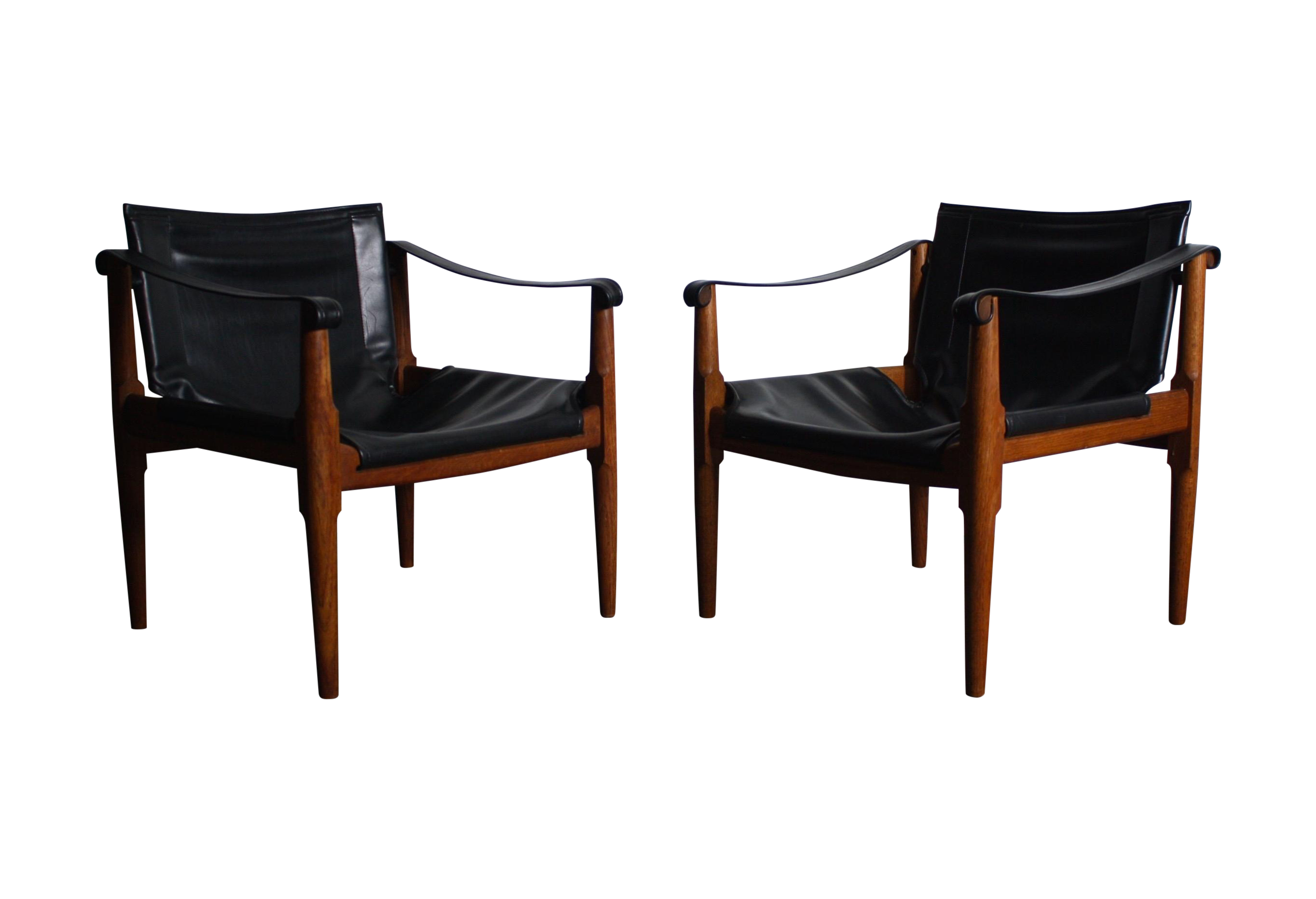 Mid Century Teak and Leather Safari Chairs Pair