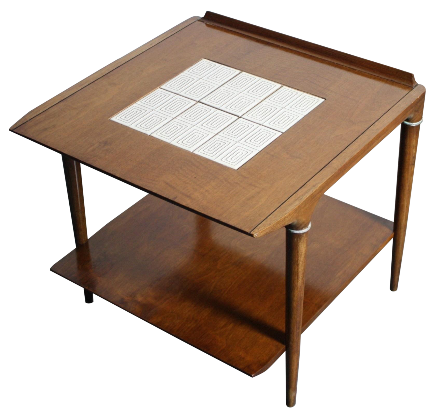 Mid Century Lane Teak End Table With Tile Inlay