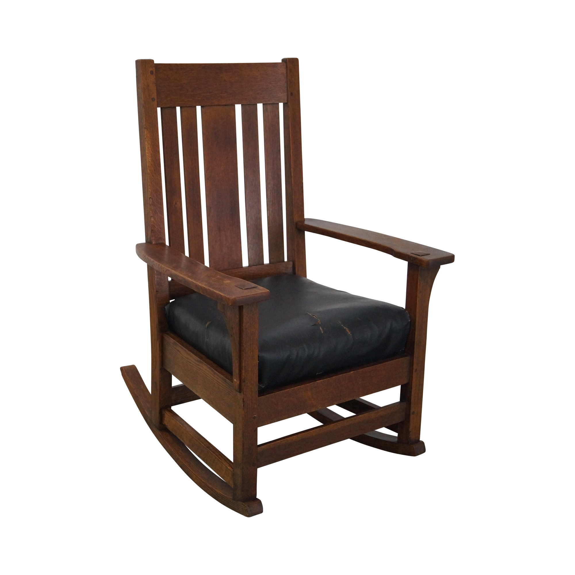 antique mission oak rocking chair chairish. Black Bedroom Furniture Sets. Home Design Ideas