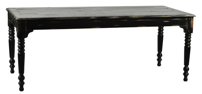 Black distressed dining table chairish for Spl table 98 99