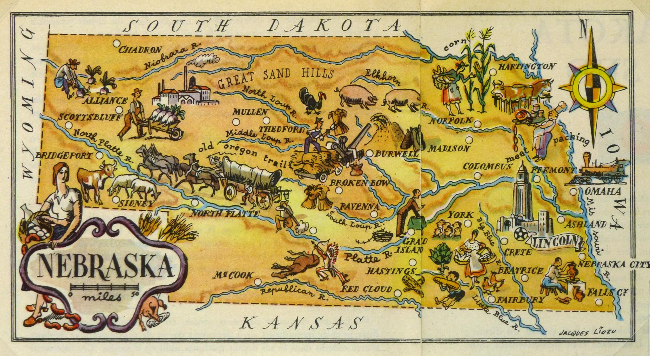 Vintage 1946 Nebraska Pictorial Map Chairish