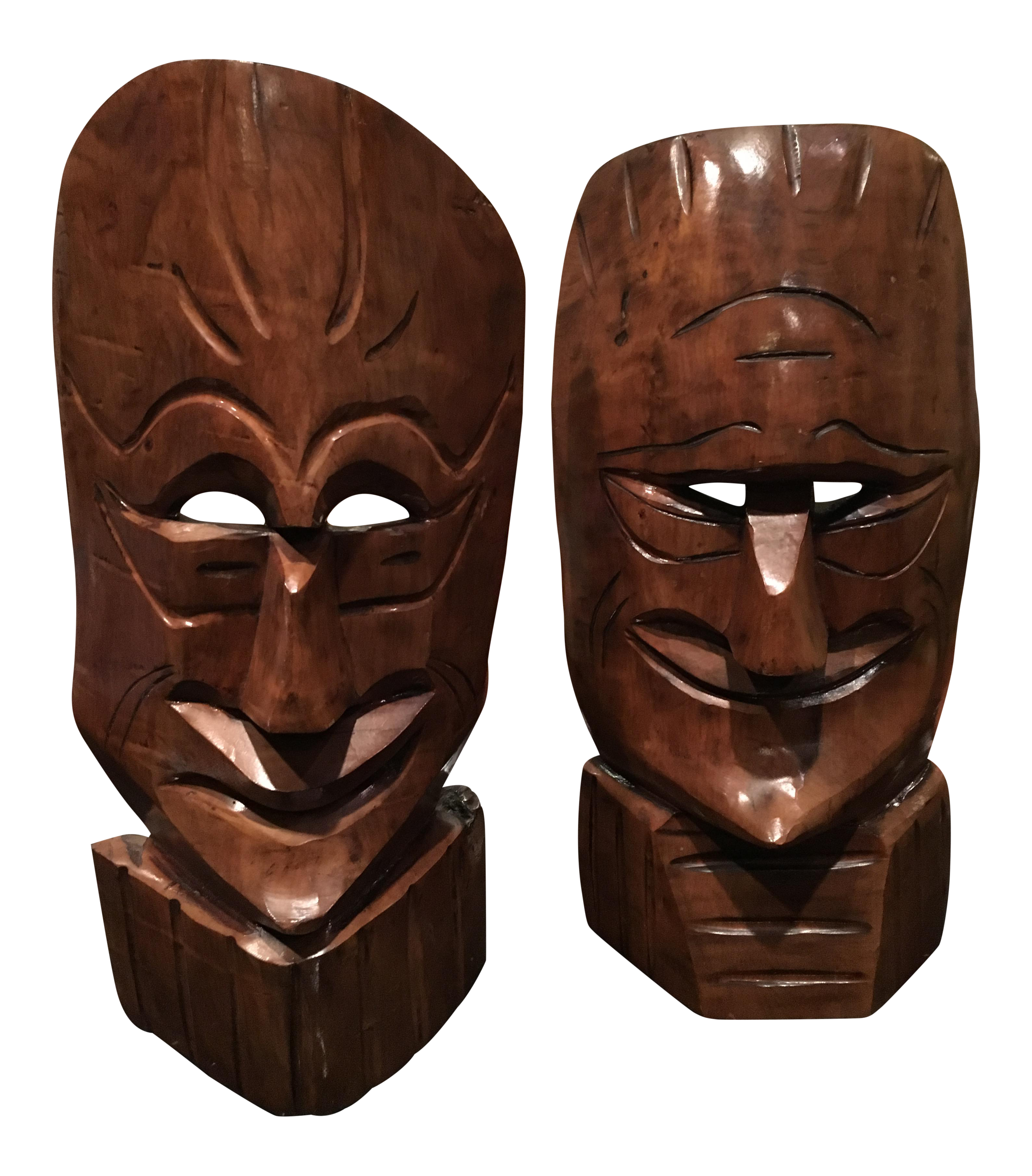 Mid Century Modern Carved Wood Tiki Masks A Pair Chairish
