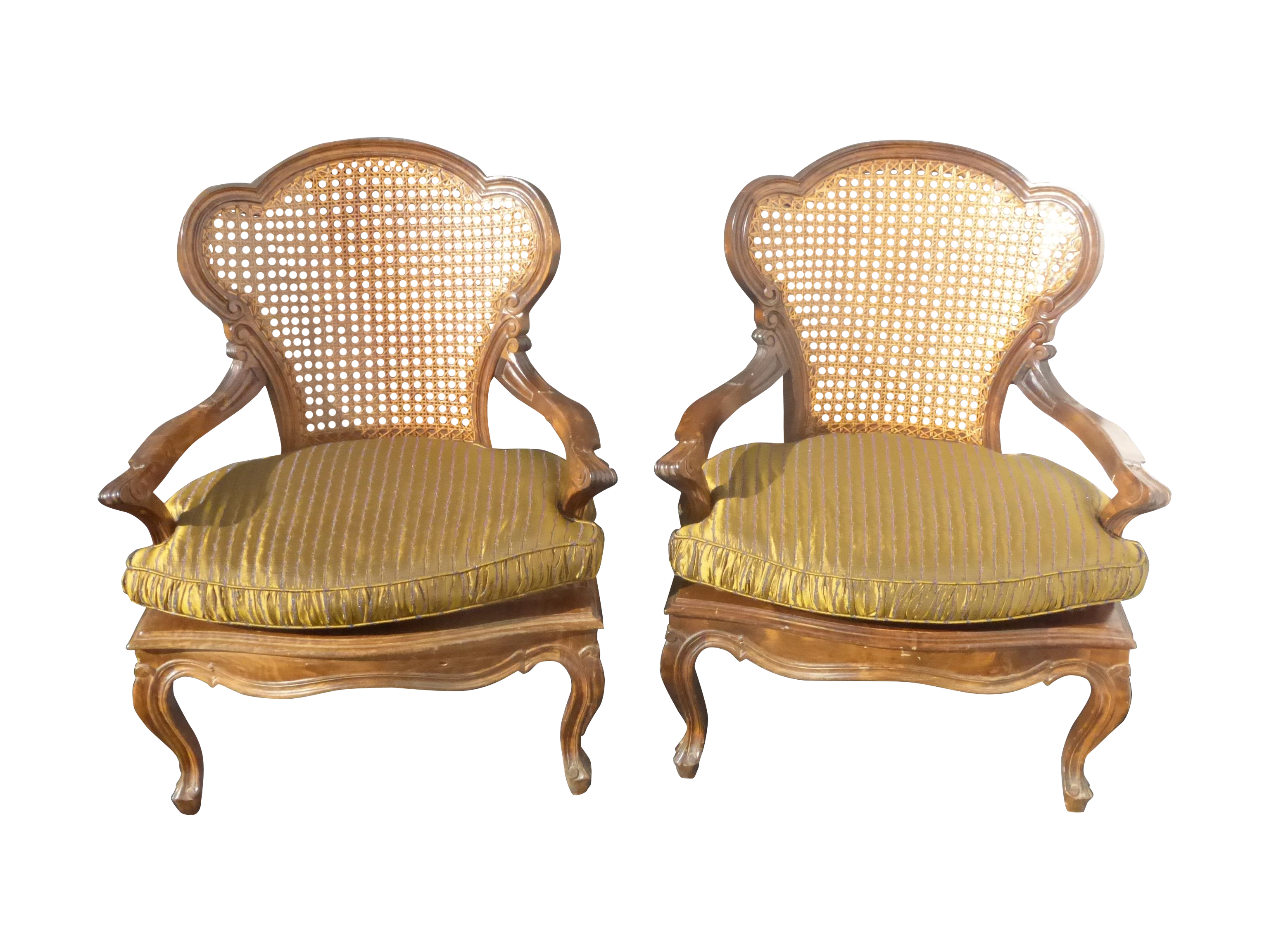 Cane chairs with cushions - Image Of French Provincial Cane Chairs Silk Cushions 2
