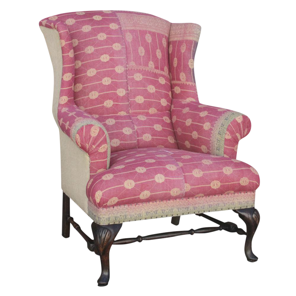 Kantha Reupholstered Wingback Chair