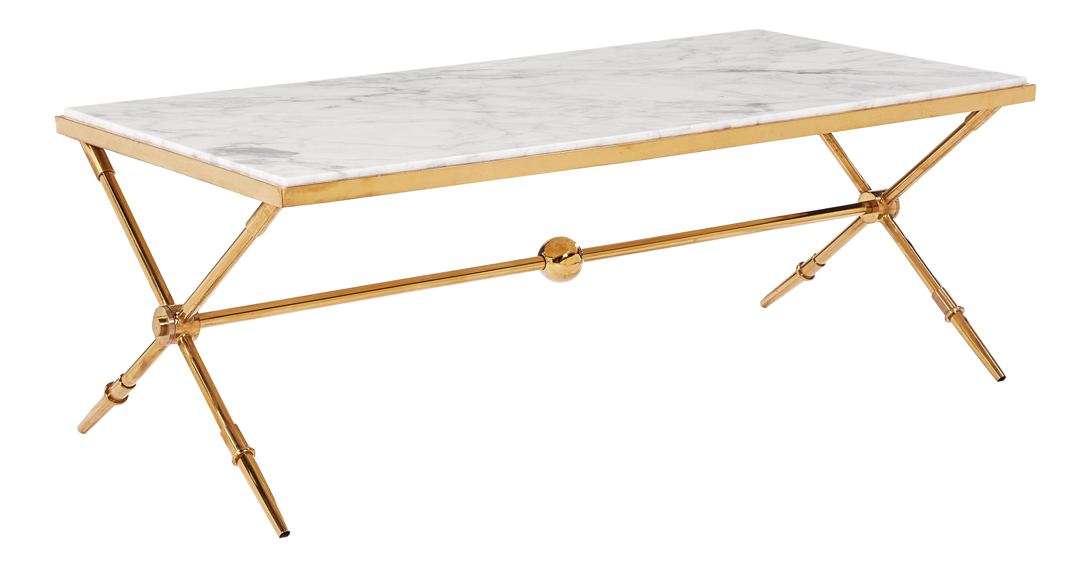 Blink Home Marble Top Antique Gold Cocktail Table