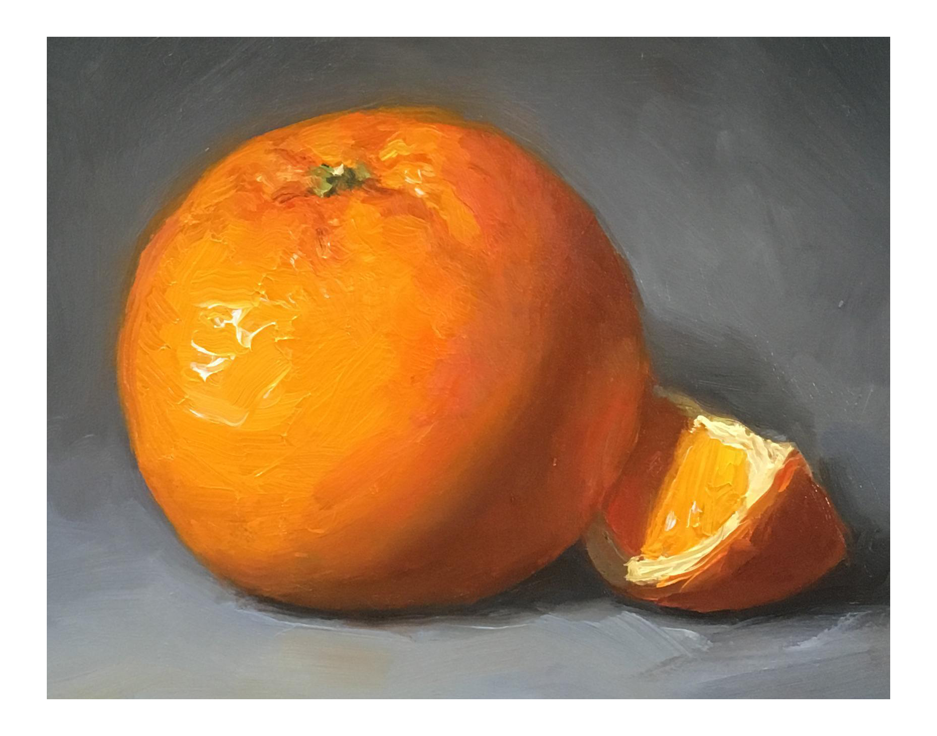 Quot Orange With Slice Quot Small Oil Painting Chairish