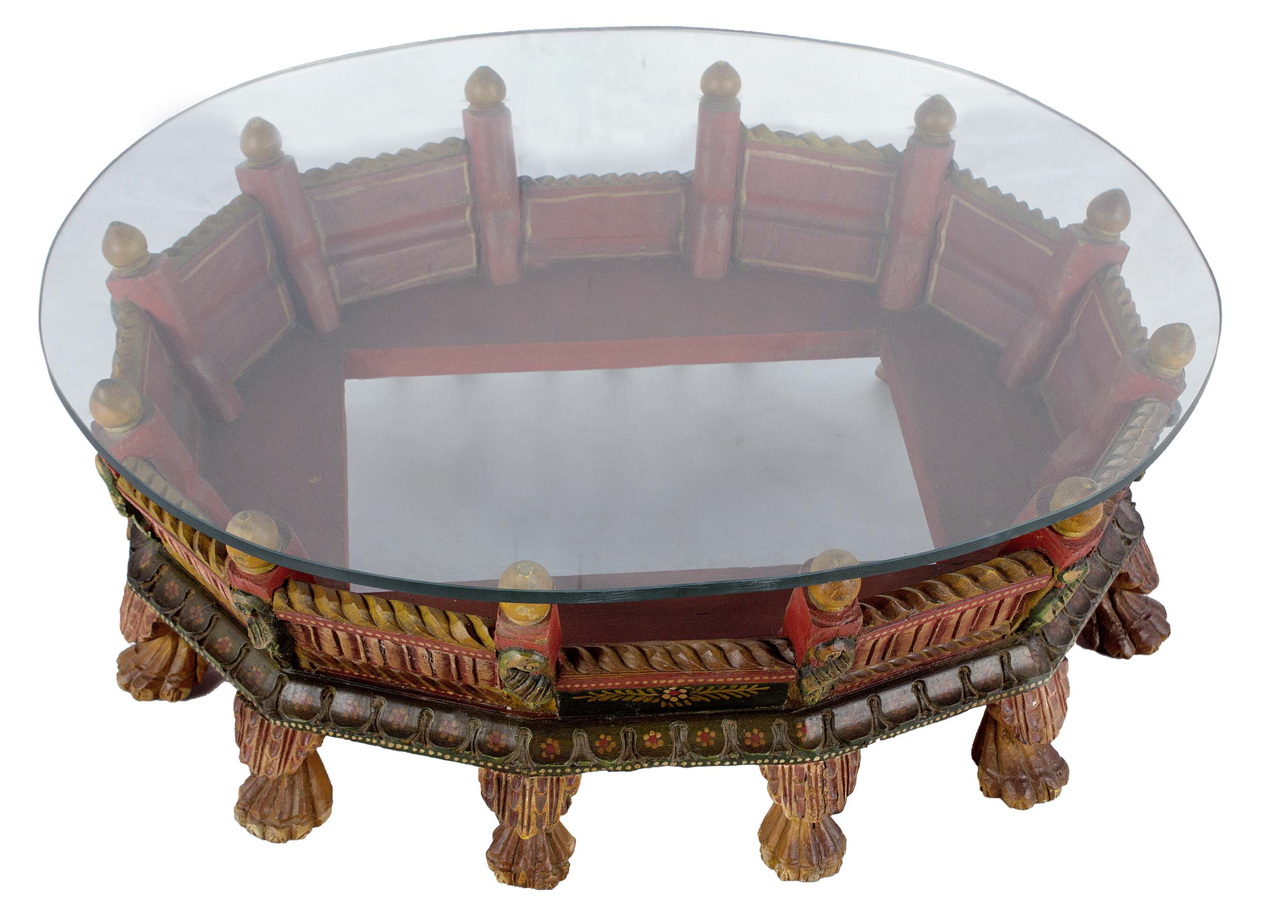 Wooden Carved Painted Low Profile Coffee Table With Glass Top Chairish