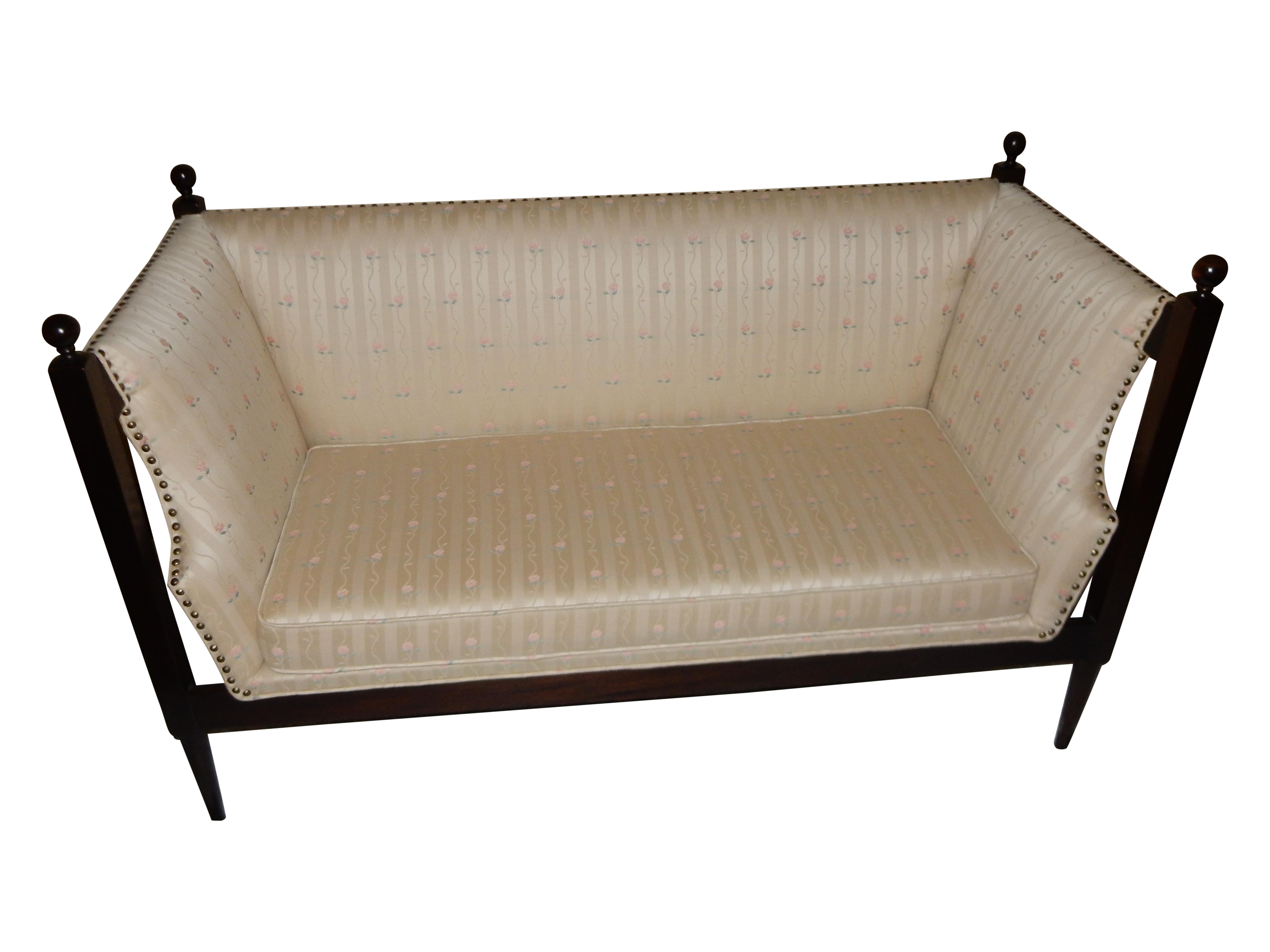 Loveseat Sofa Rectangle Wood Frame Mcm 60s Fabric Upholstery Chairish