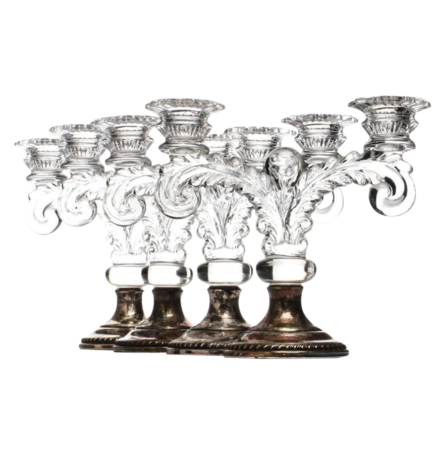 sheffield silver co weighted sterling u0026 glass candelabras set