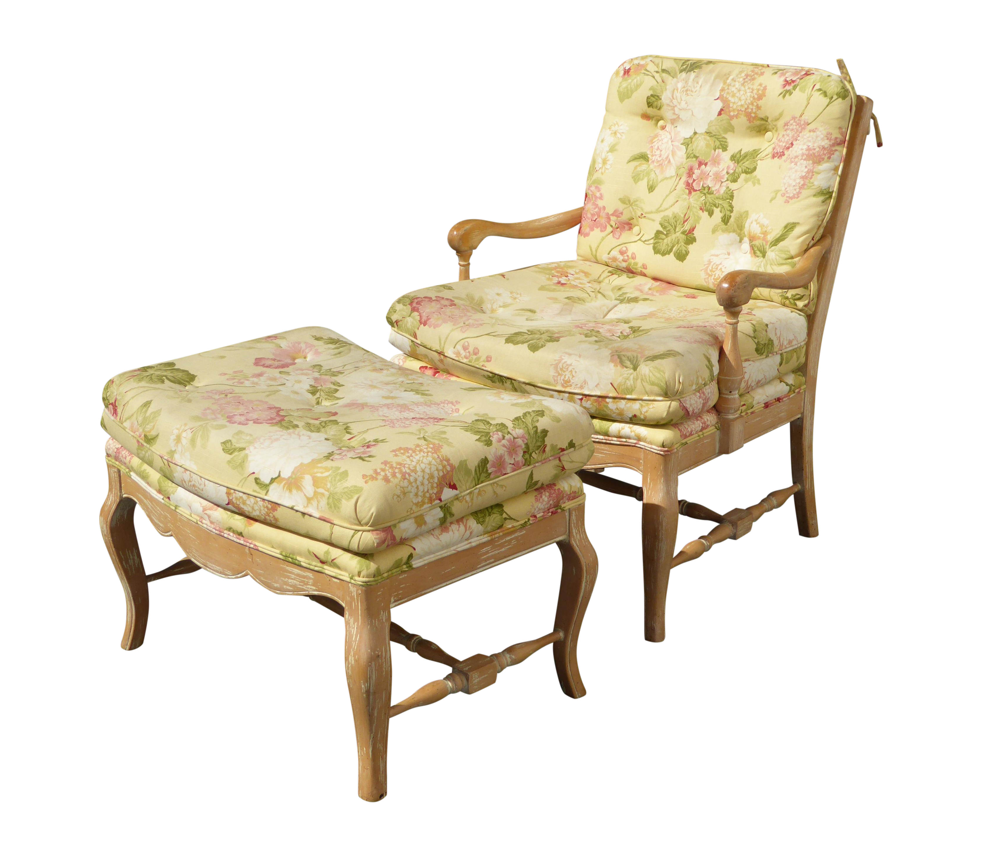 French Country Yellow Floral Accent Chair & Ottoman