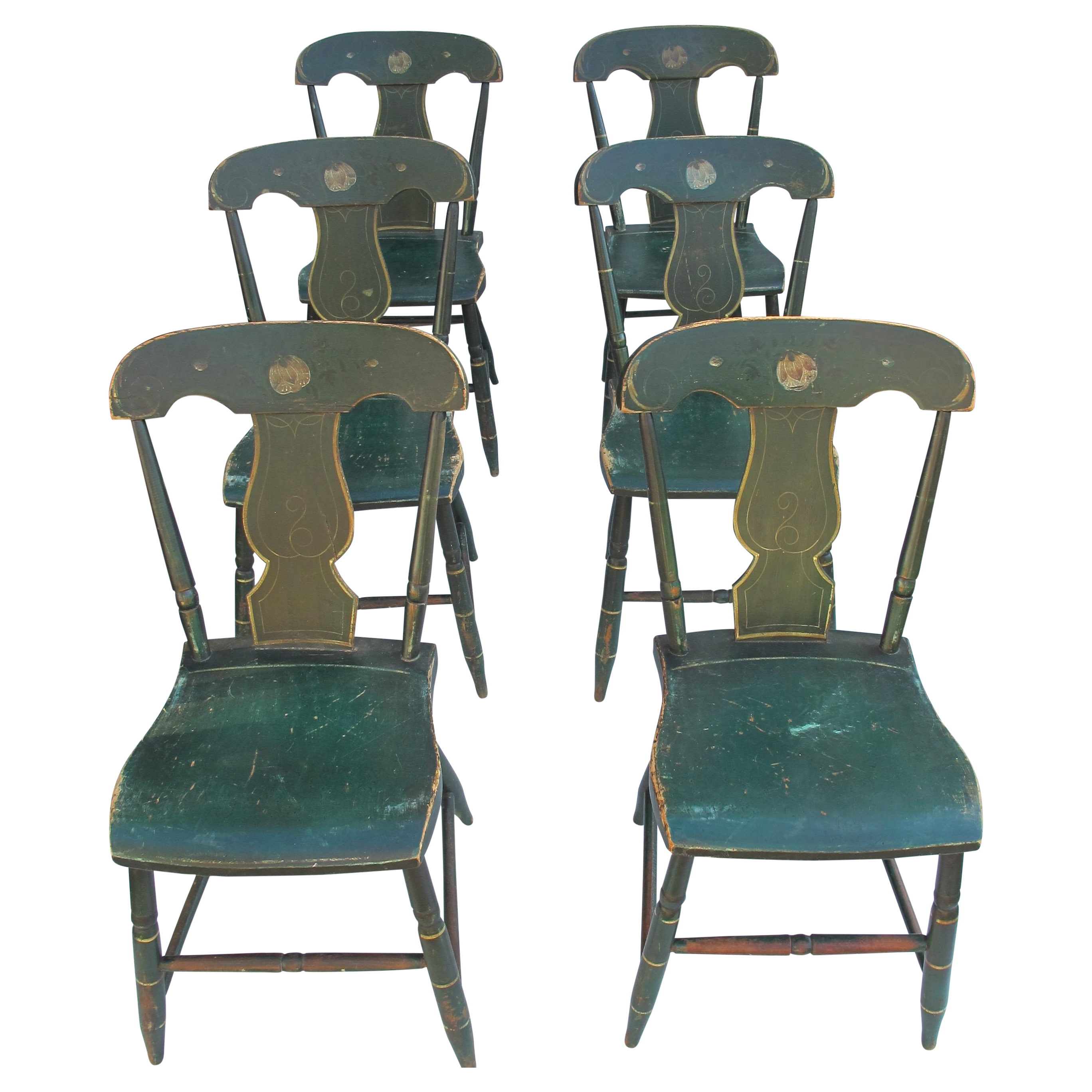 Vintage thonet style cafe chairs with stenciled seats - Antique Painted Pennsylvania Plank Chairs S 6