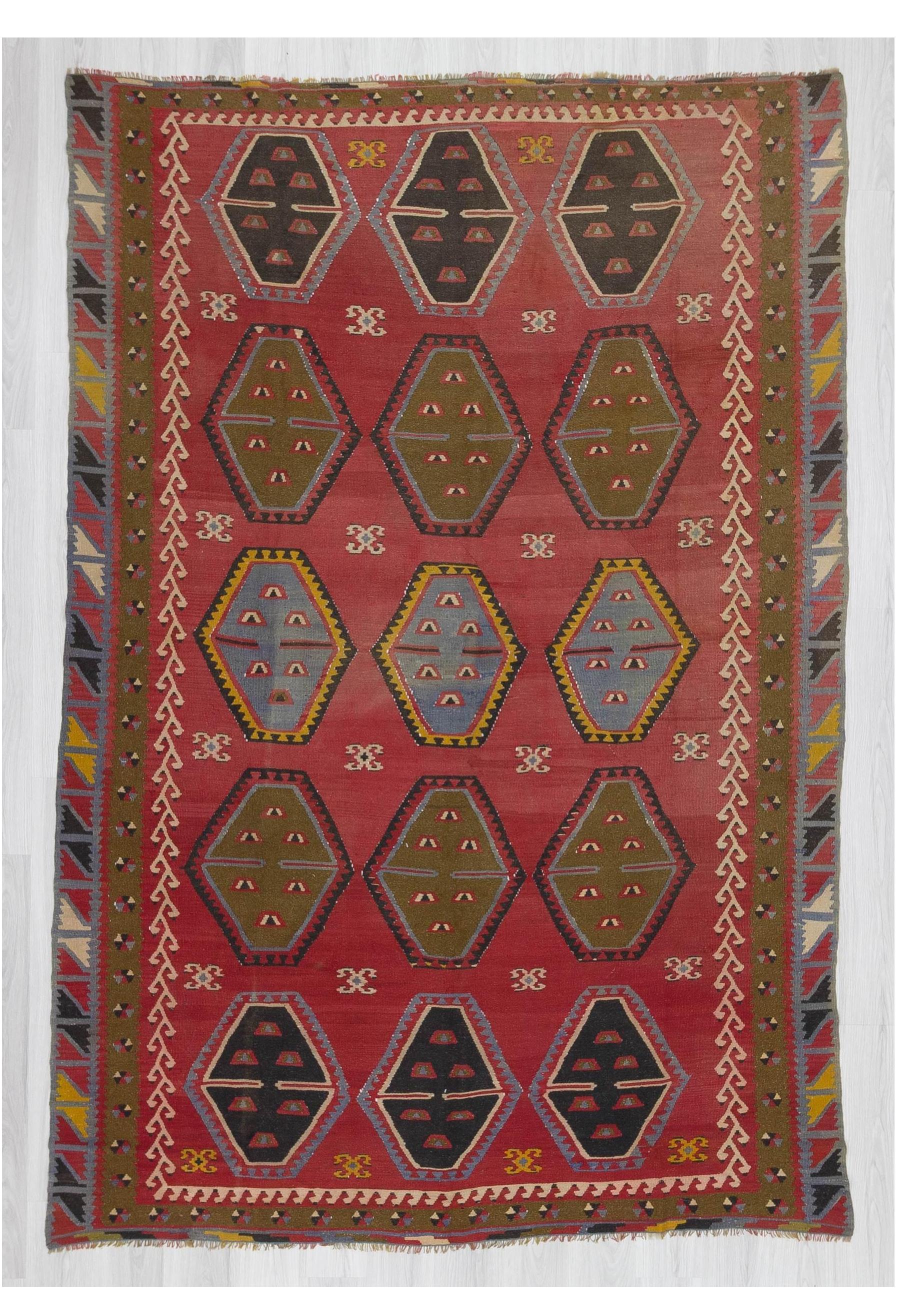 Vintage Oversized Decorative Turkish Kilim Rug 7 4 215 10