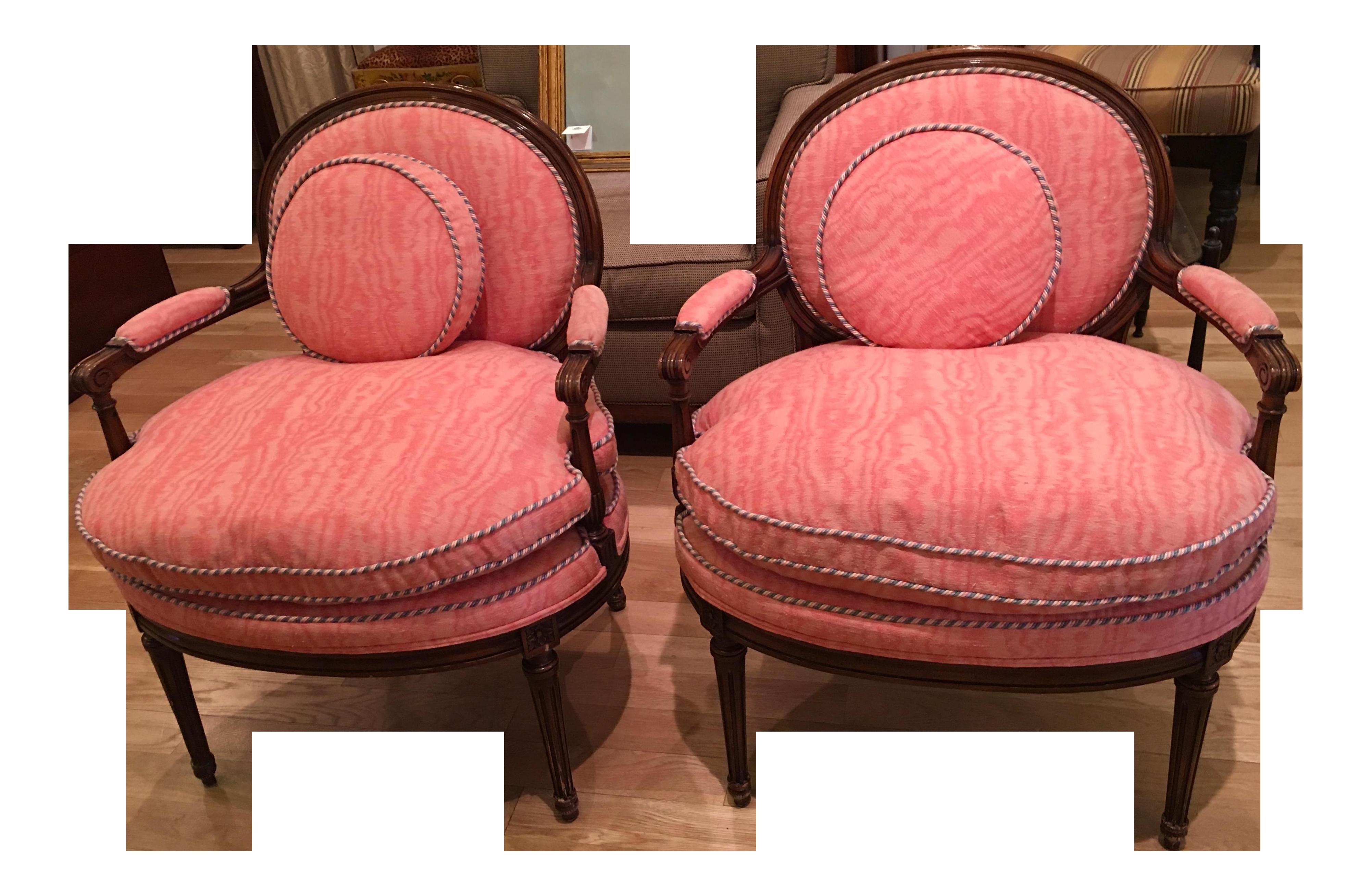 Louis Xvi Style Bergere Arm Chairs A Pair Chairish