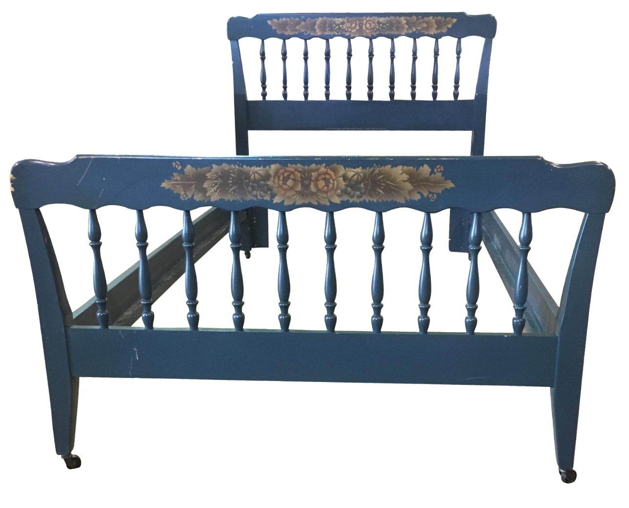 Antique french iron bed - Vintage Hitchcock Blue Twin Bed