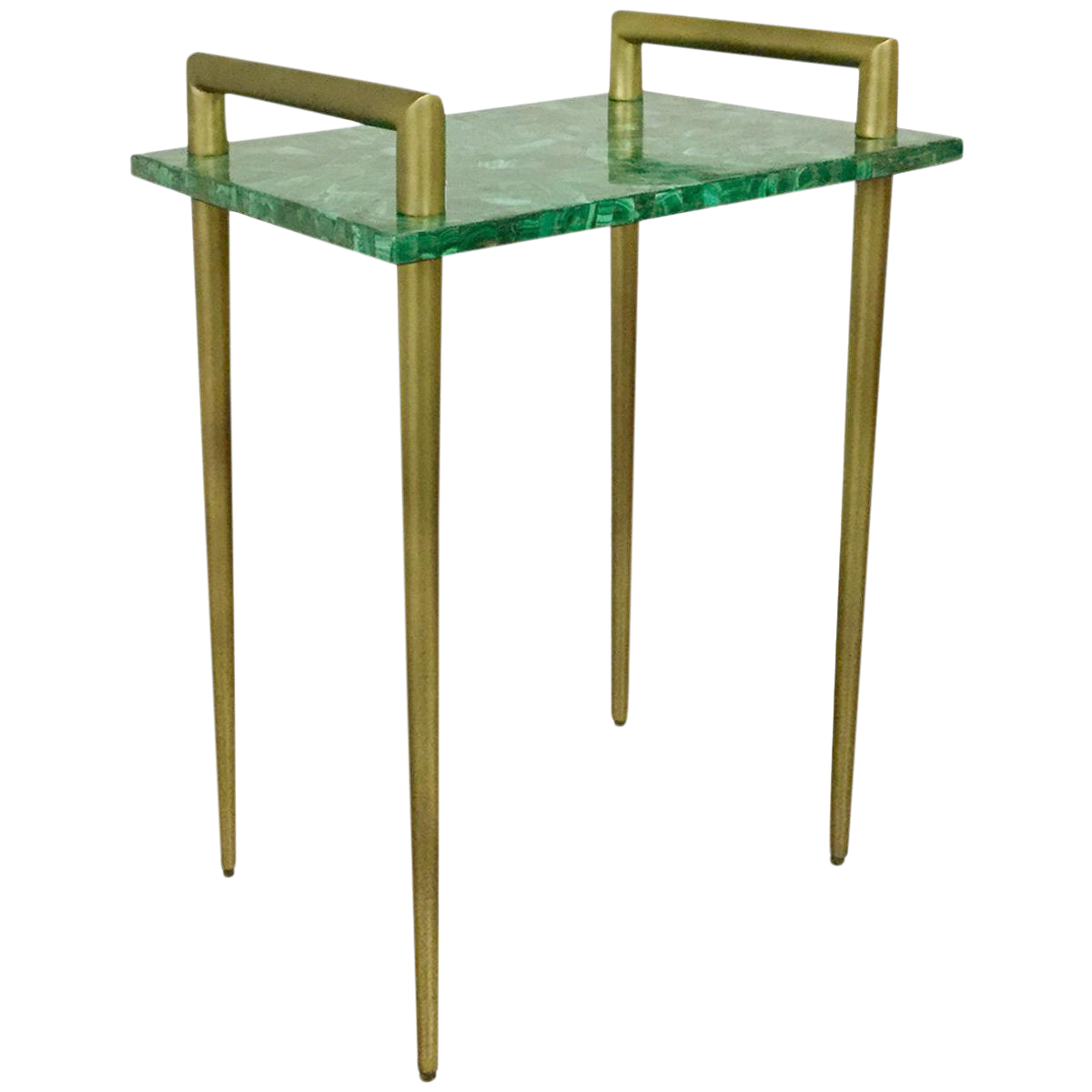 Scrolled metal and wood coffee table - Malachite Stone Metal Handle Side Table