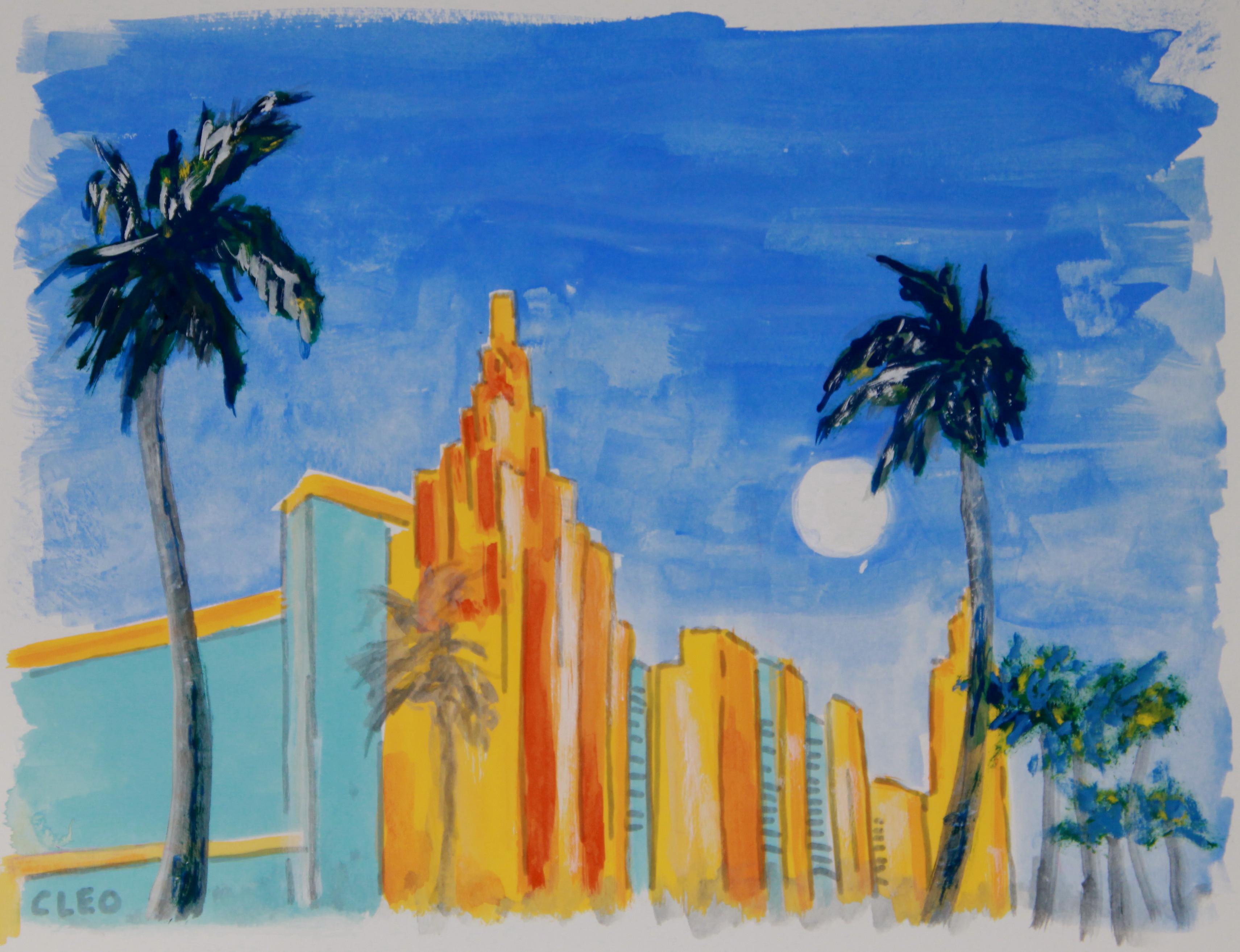 Miami Beach Landscape Art Deco City Painting By Cleo