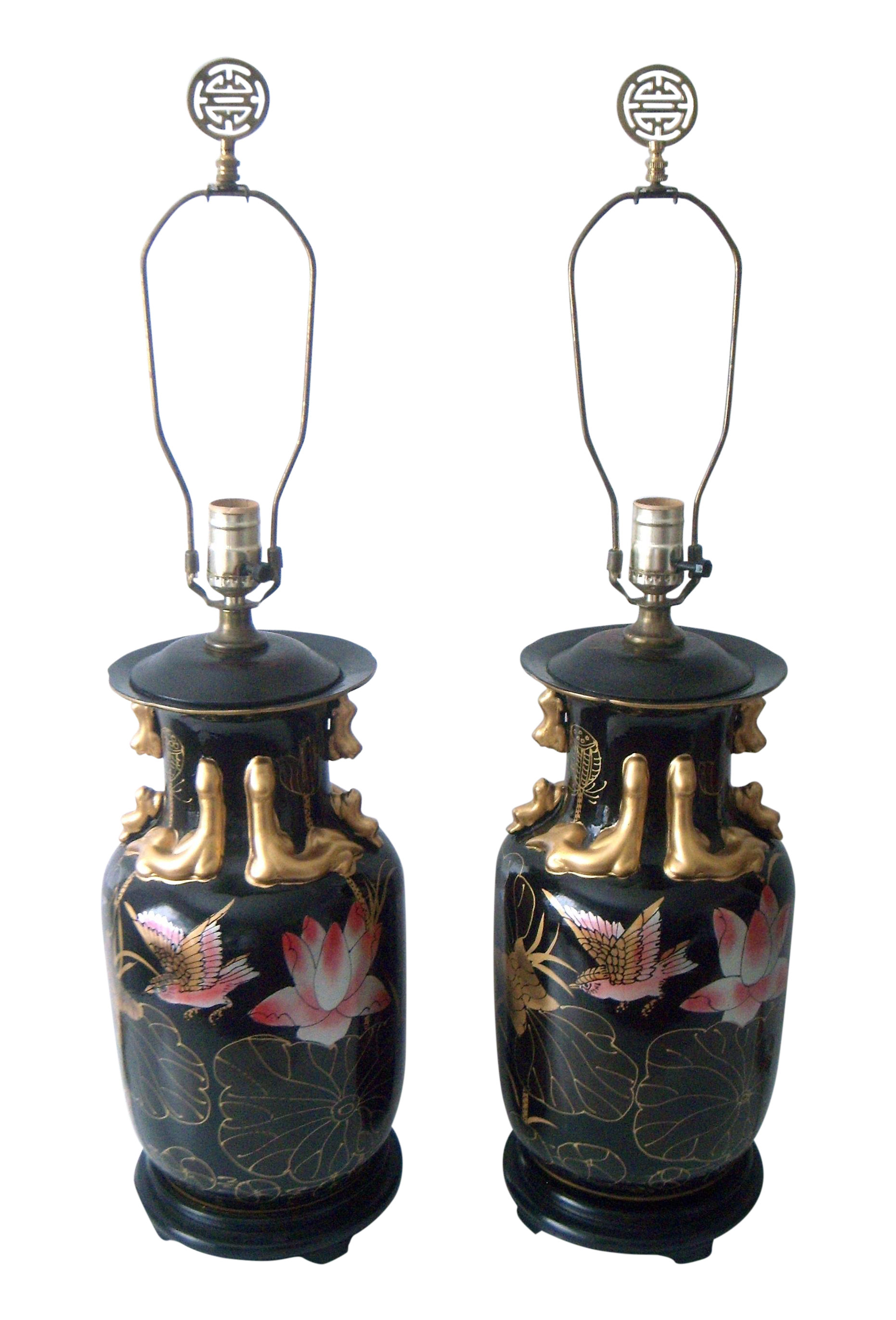Decorative Oriental Pink Lotus Table Lamps