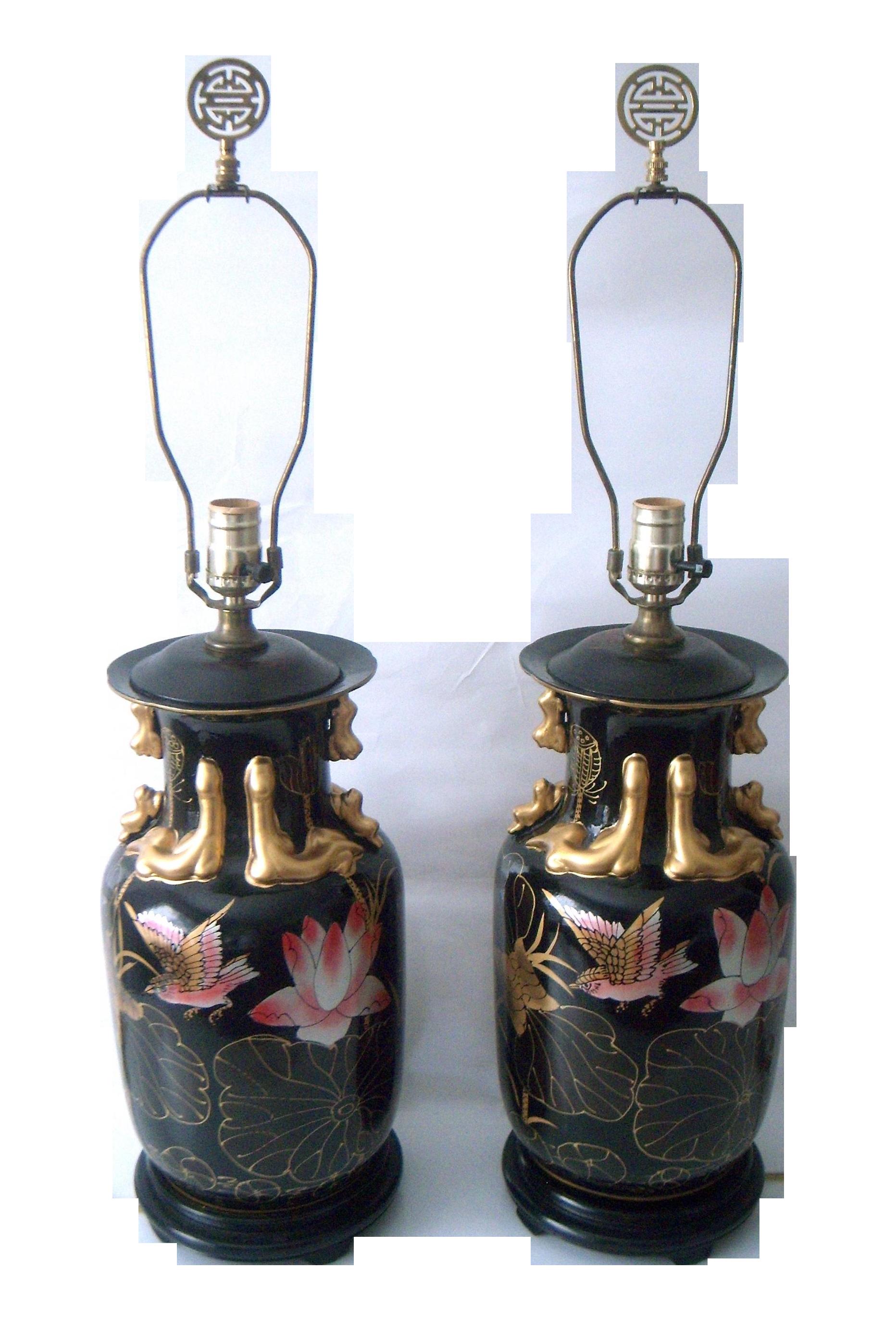 Decorative Oriental Pink Lotus Table Lamps