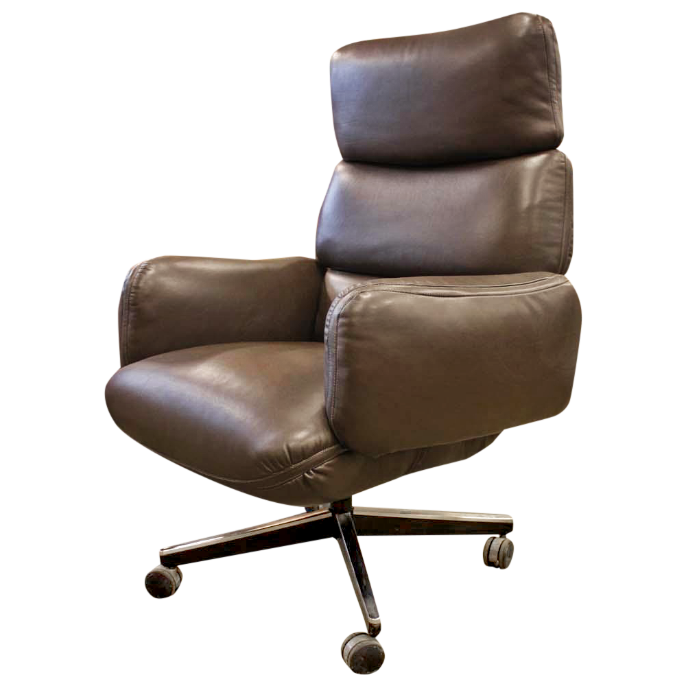 knoll zapf vintage dark brown leather office chair chairish