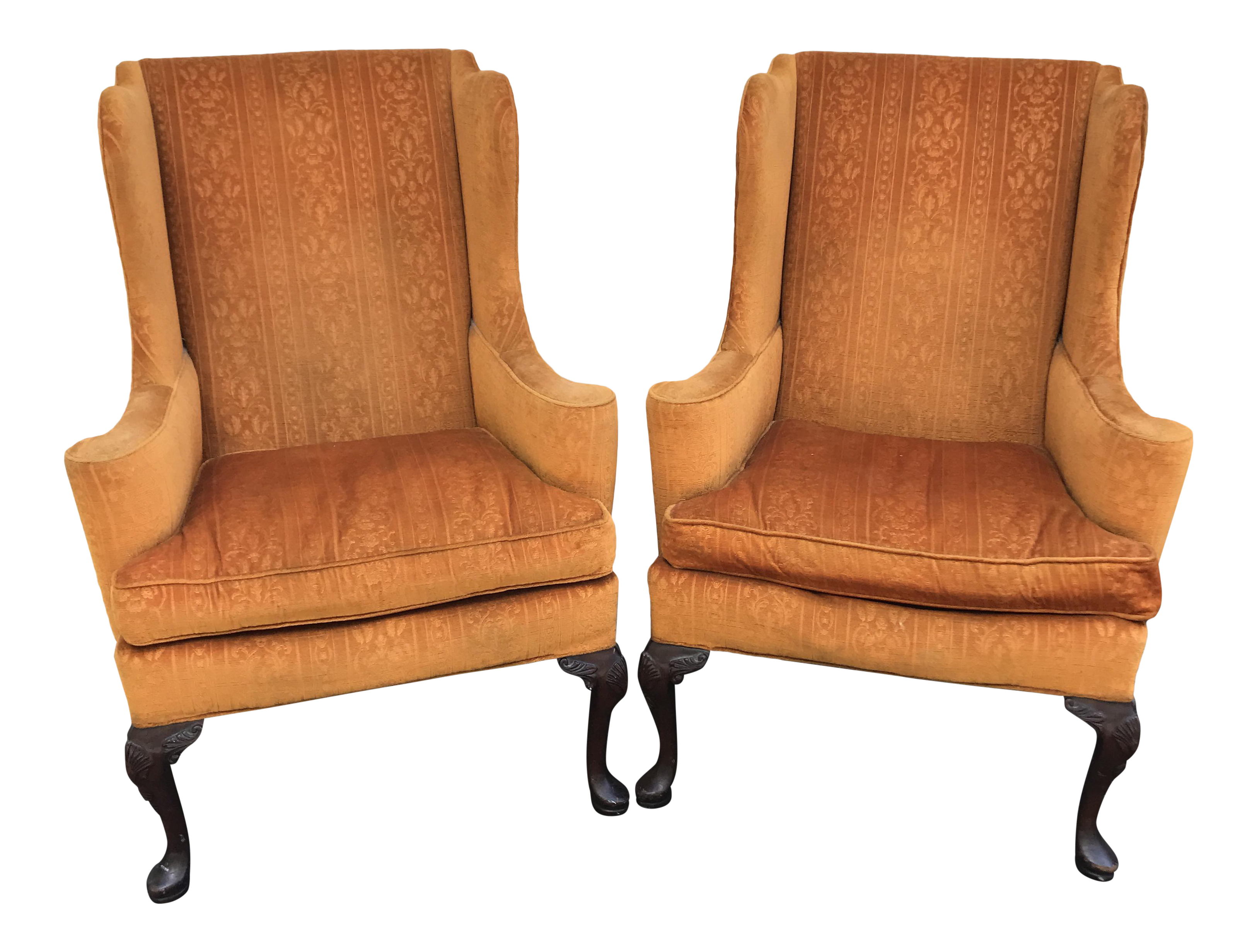 Queen Anne Wingback Chairs by Hickory Chair A Pair