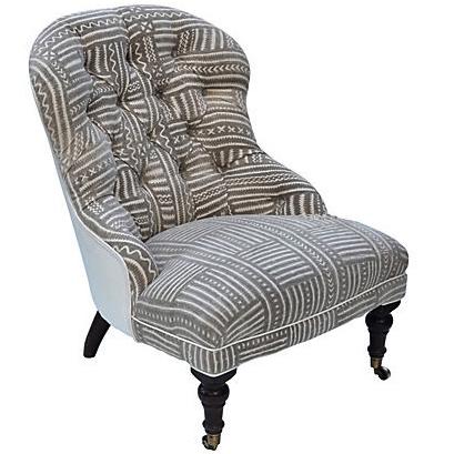 Mudcloth boudoir chair chairish for Boudoir stoel