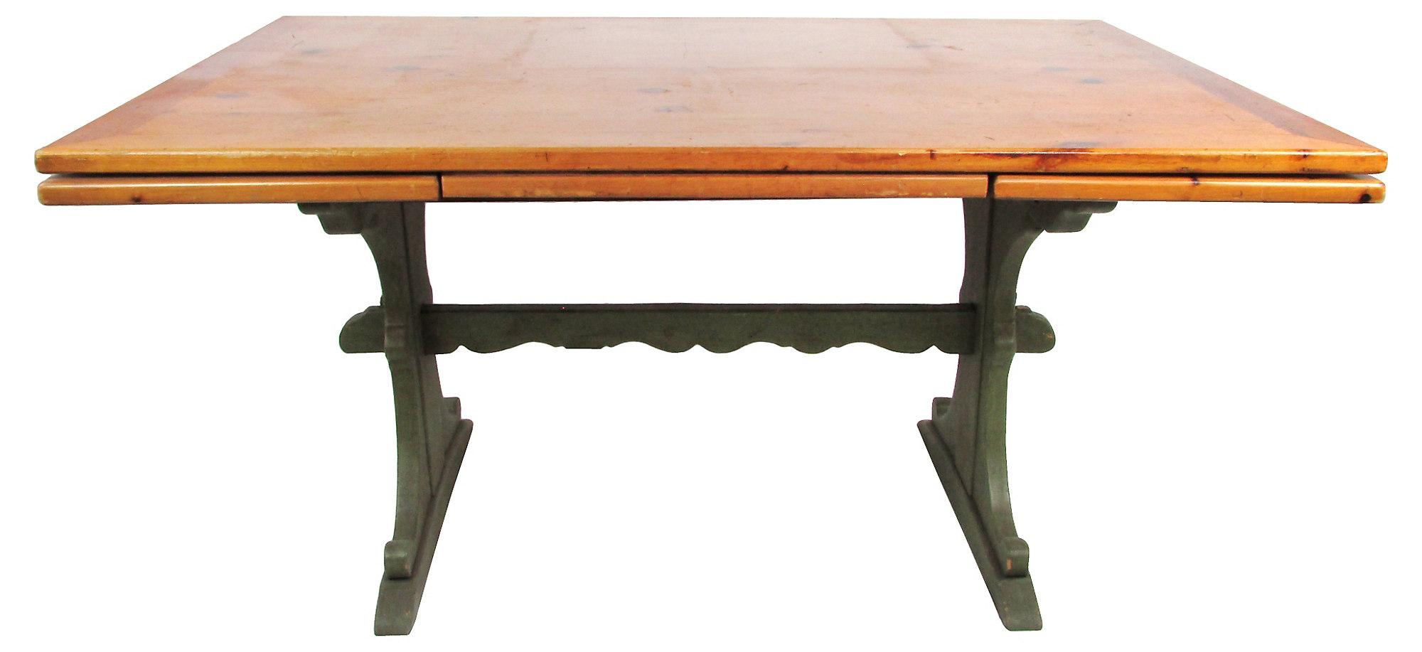 Pine trestle table with hidden leaves chairish for Spl table 98 99