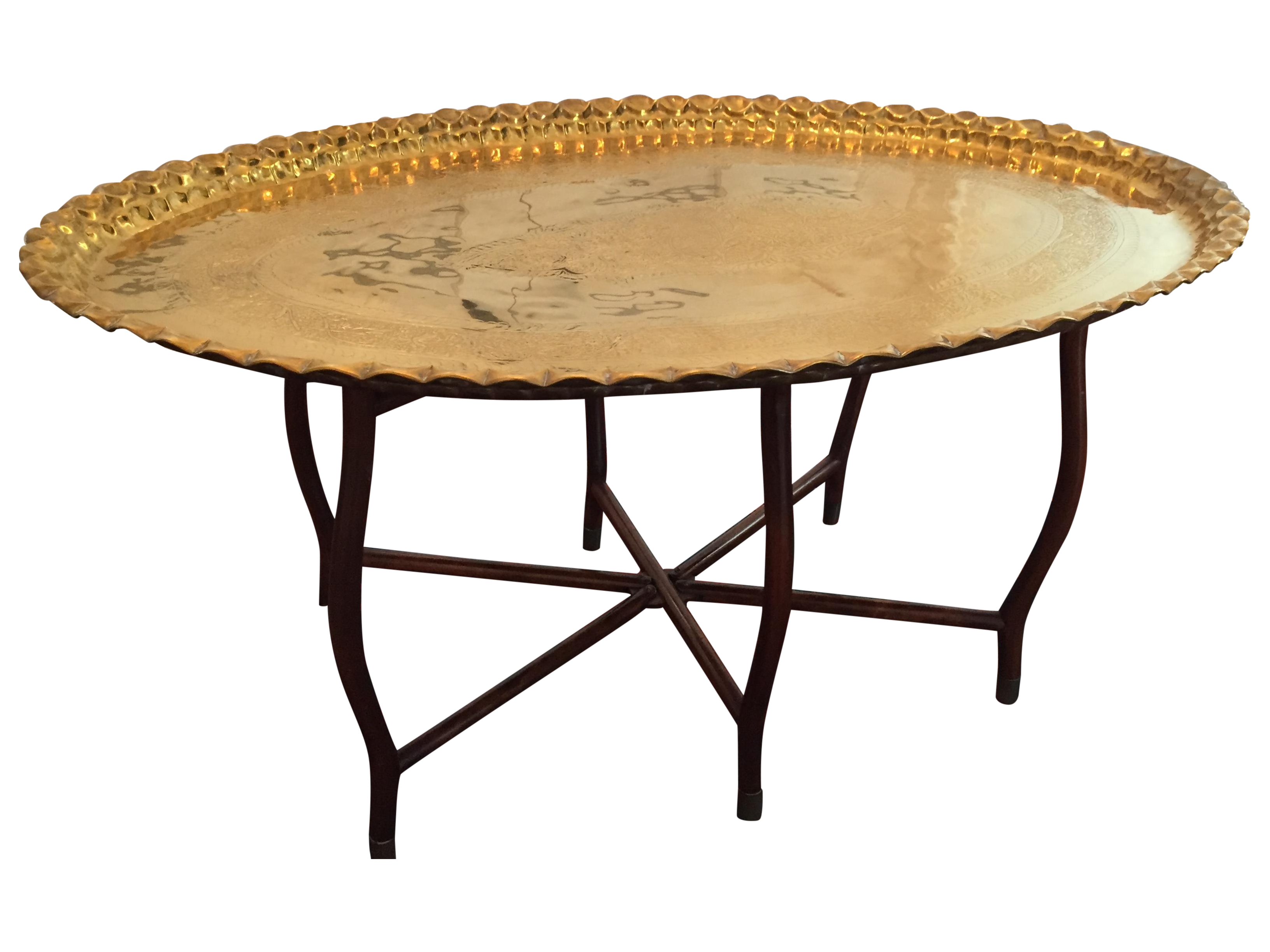 large oval mcm brass tray coffee table chairish