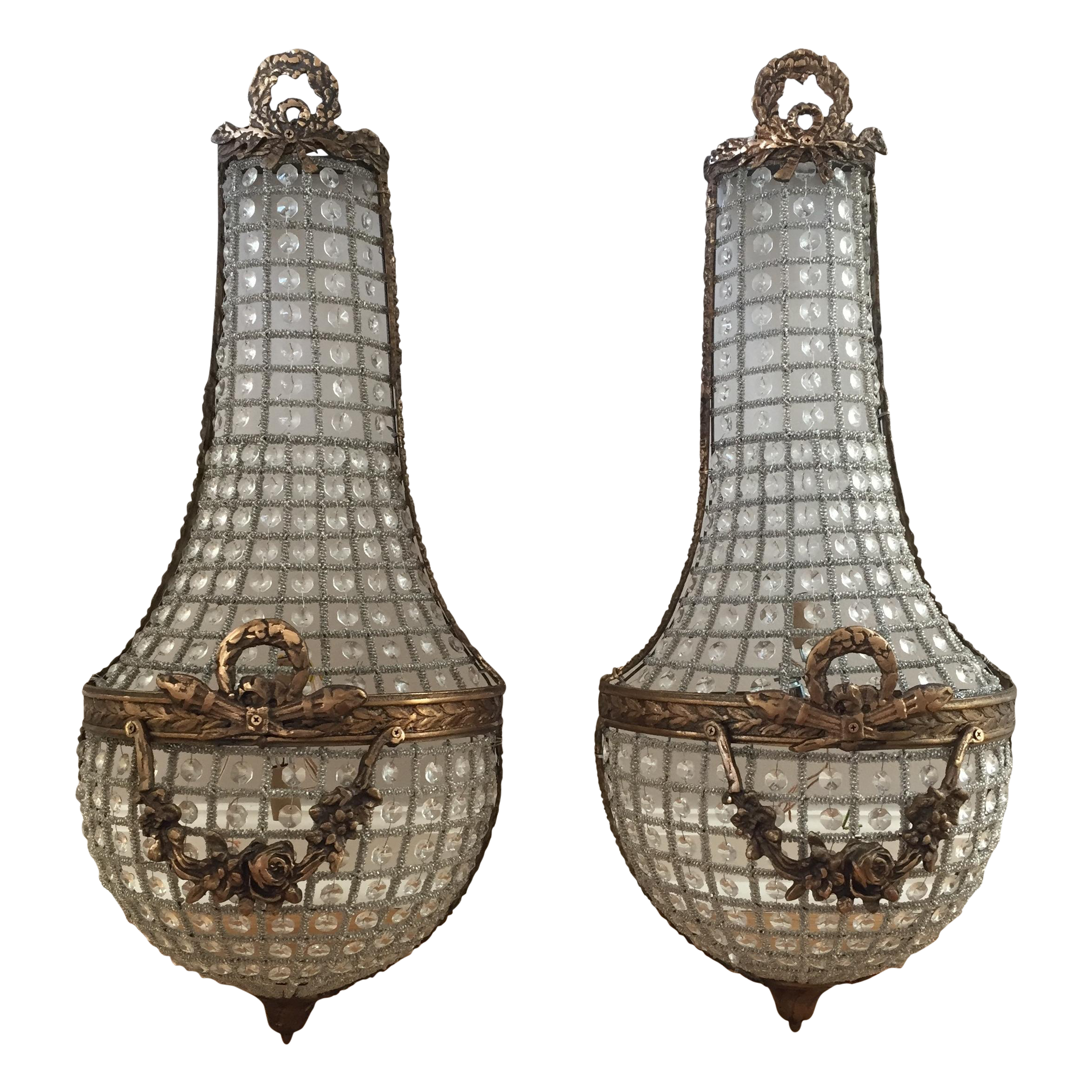 French basket style crystal wall sconces a pair chairish amipublicfo Choice Image