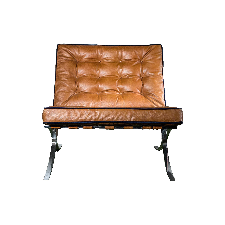 Barcelona Chair Style Mies Van Der Rohe Style Brown Barcelona Chair Chairish