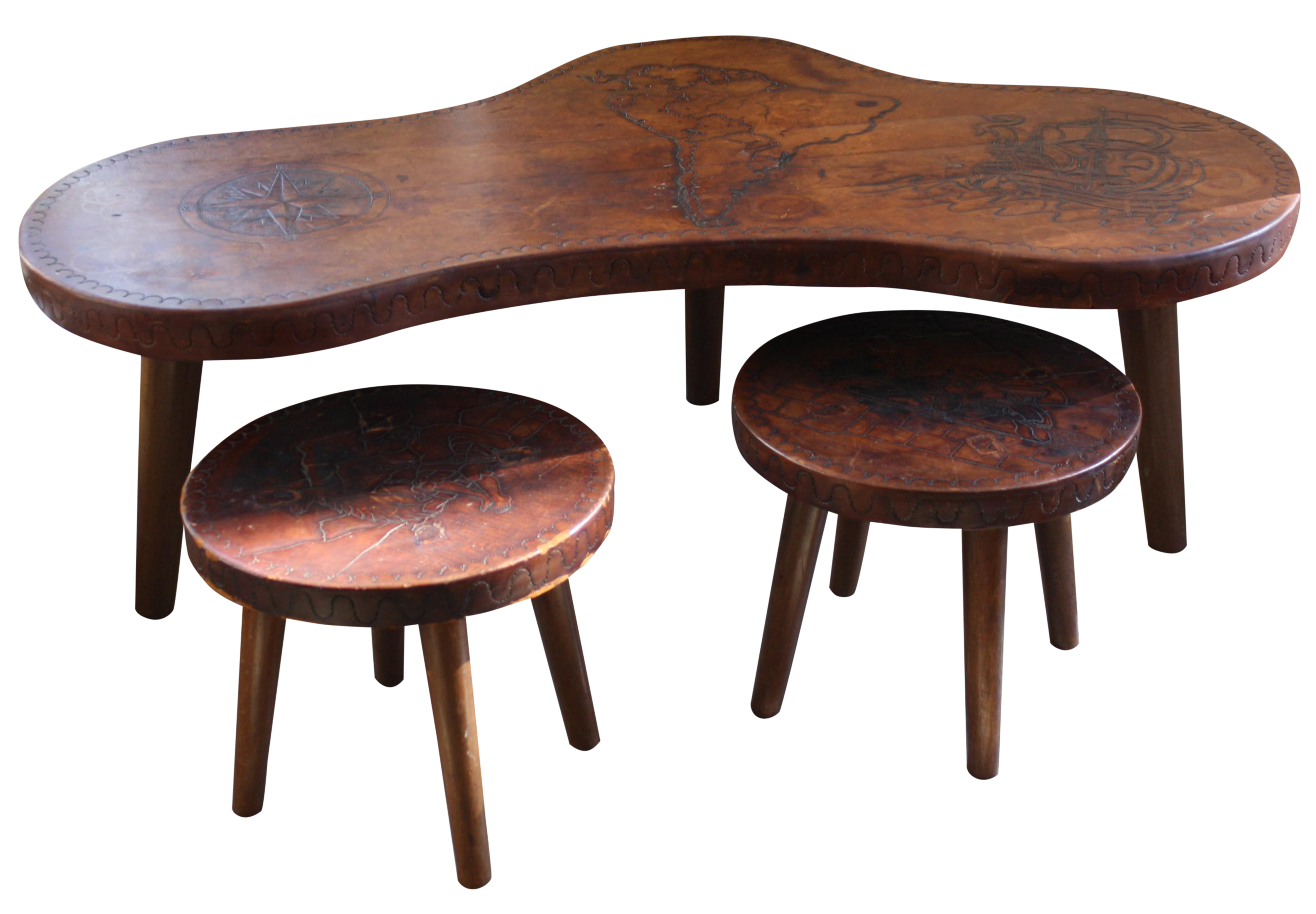 Mid Century Peruvian Leather Coffee Table & Stools