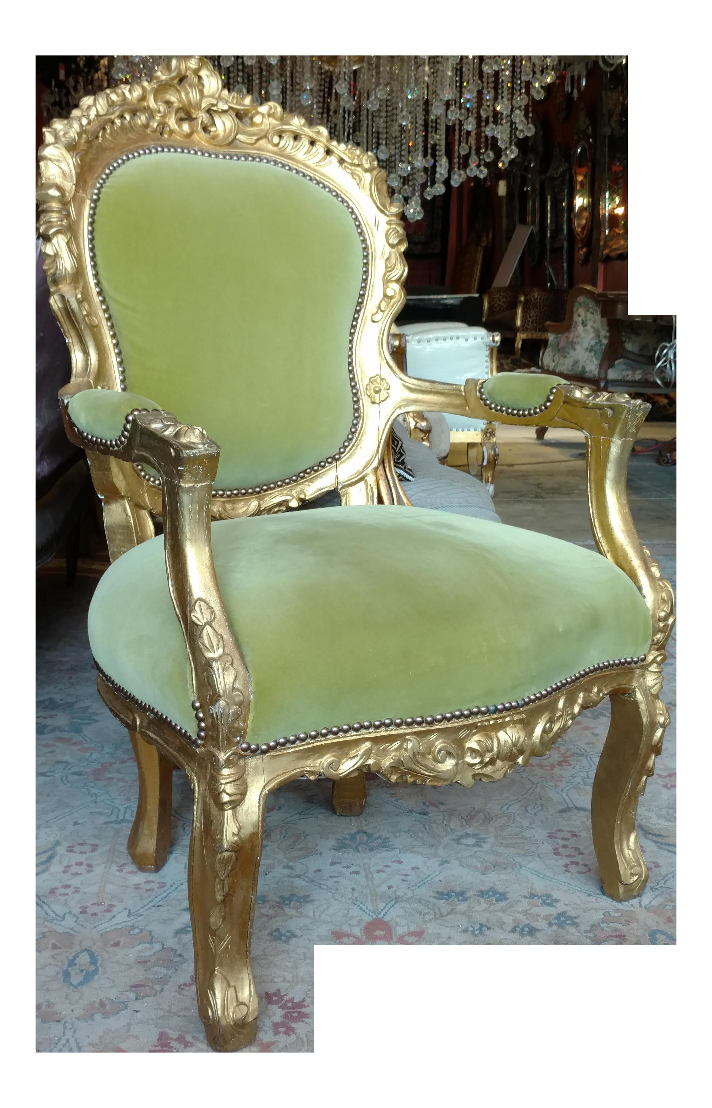 Victorian Green Velvet Glitwood Arm Chair Chairish