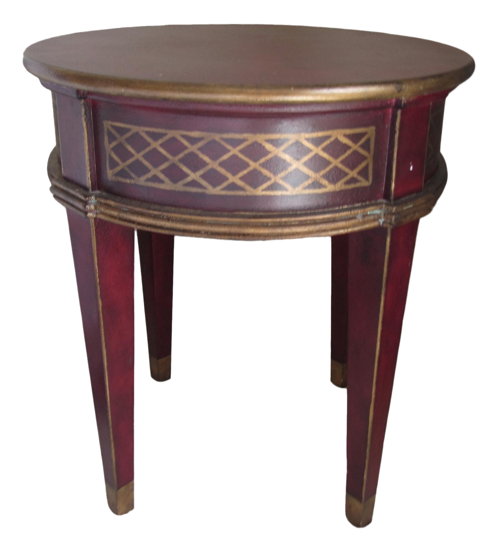 Round Red & Gold Painted End Table | Chairish