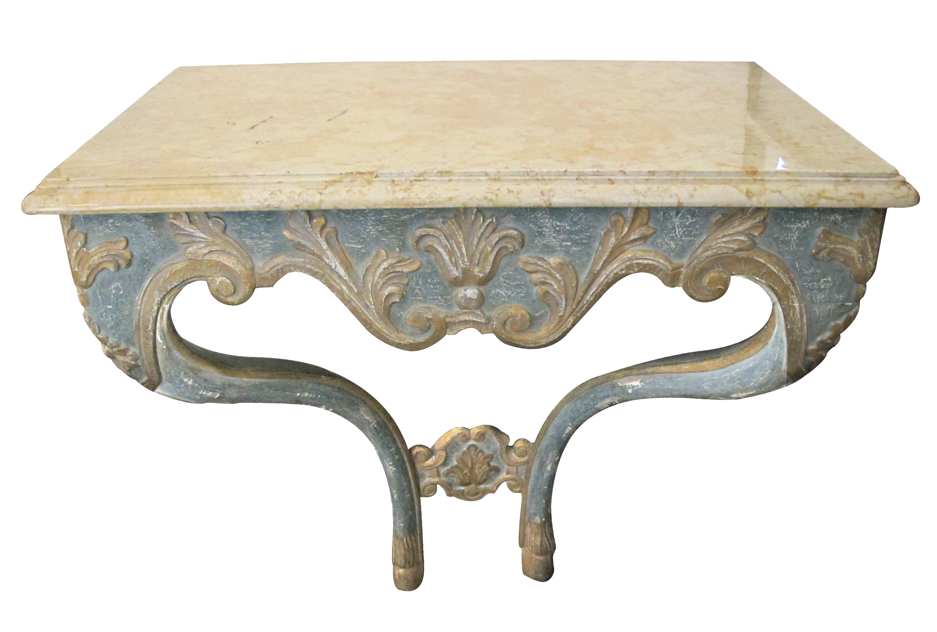 Excellent an elegant custom made italian baroque style aqua and excellent an elegant custom made italian baroque style aqua and ochre painted console table with marble top decaso geotapseo Image collections