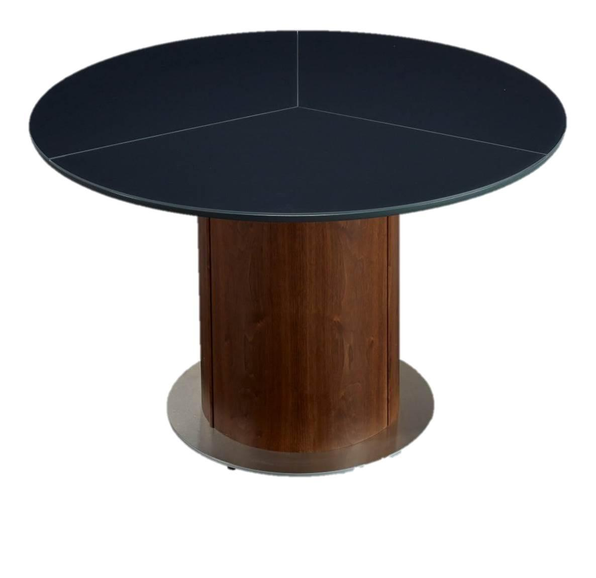 Black extending roung dining table by skovby chairish - Black extending dining table ...