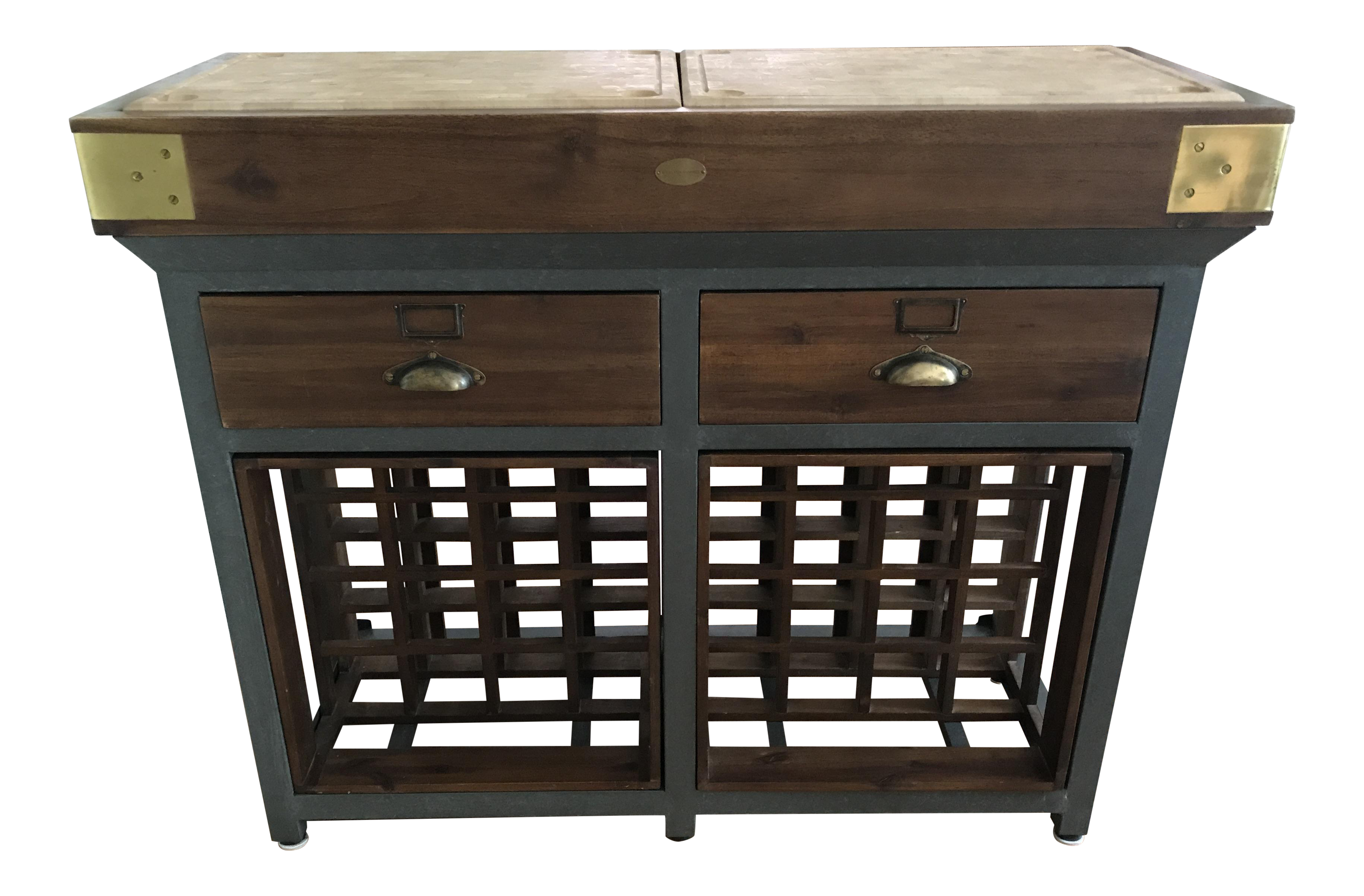 Williams Sonoma French Chef Kitchen Island With Drawers and Wine