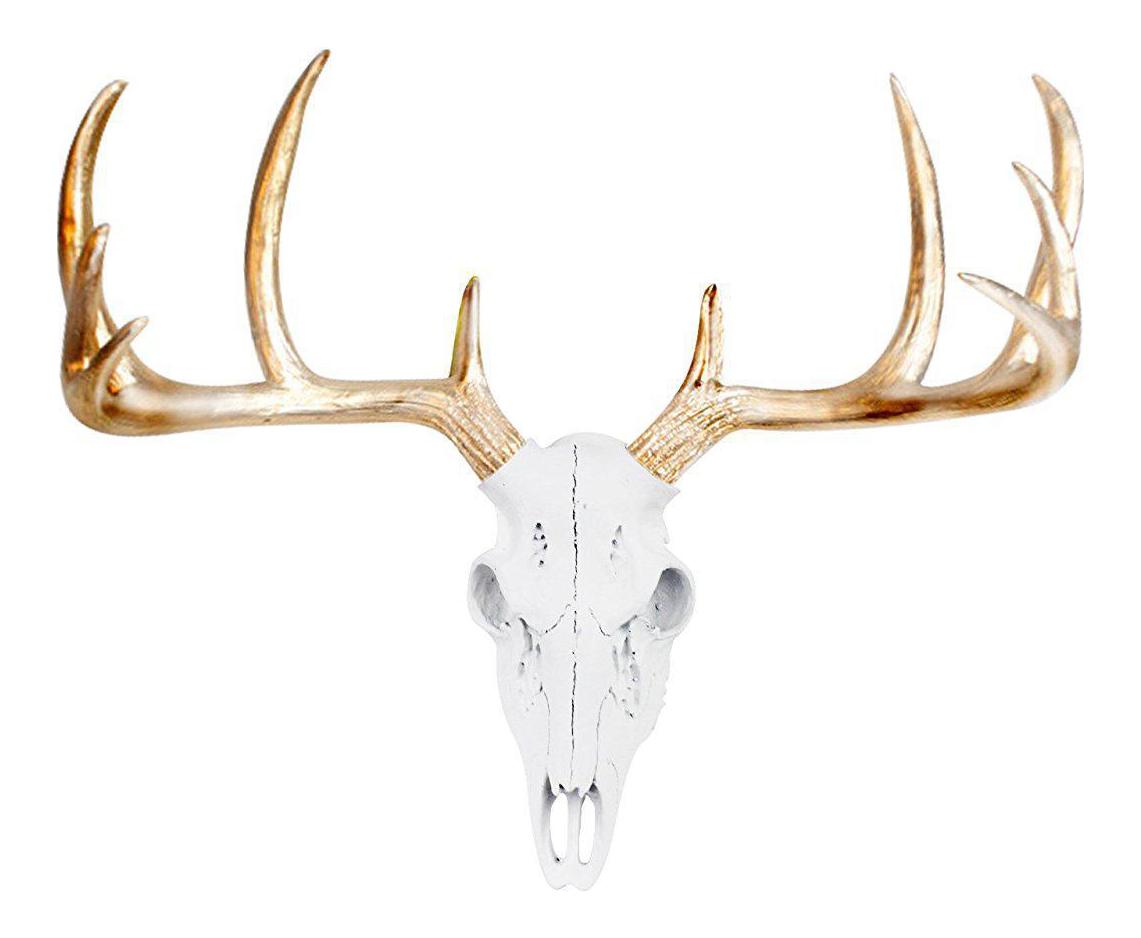 White & Metallic Gold Faux Antlers Mini Deer Skull by Wall Charmers |  Chairish