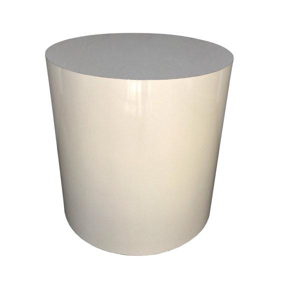 image of midcentury white drum pedestal side table