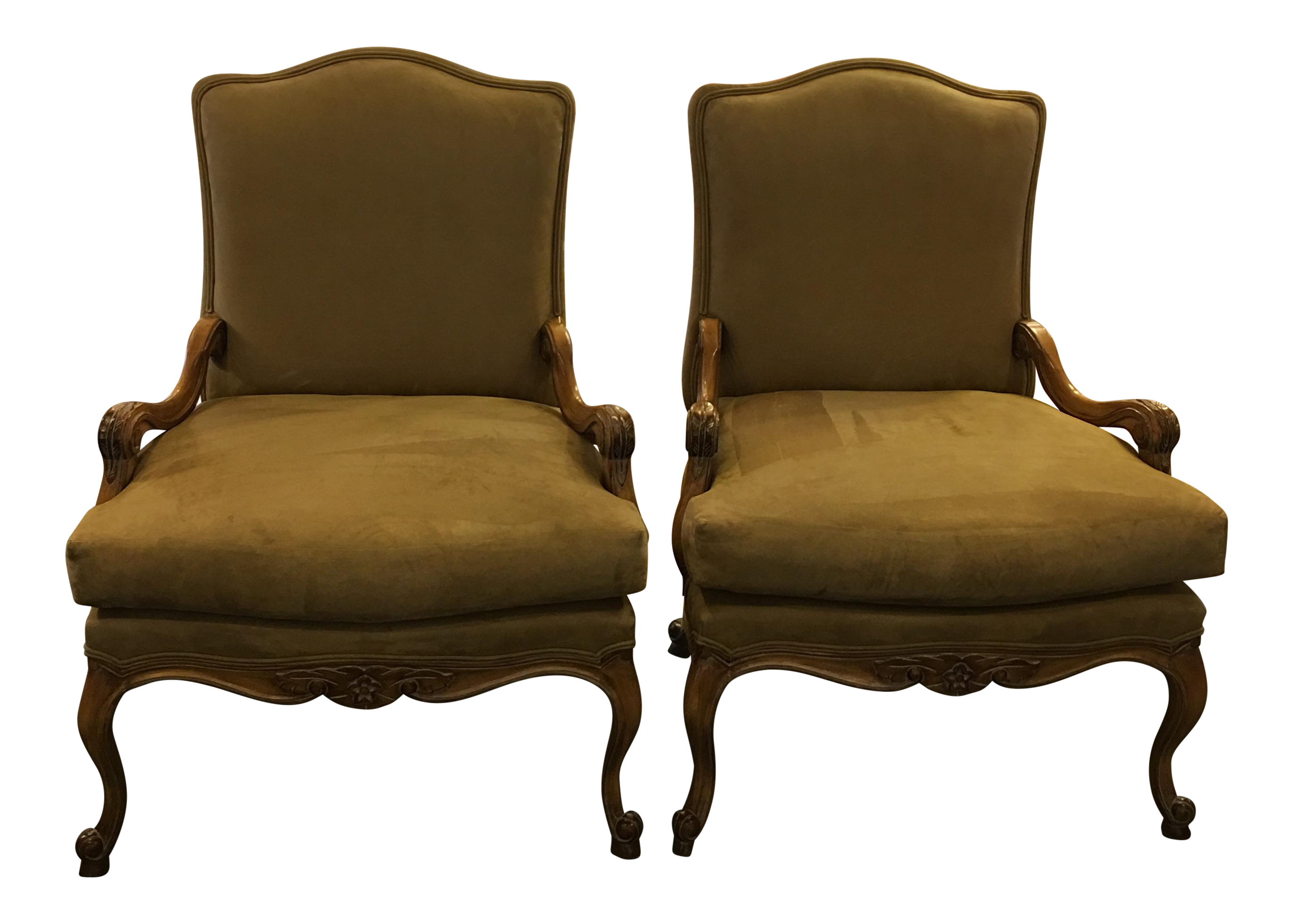 Antique gothic revival furniture for sale - Kreiss Novosuede Lounge Chairs A Pair
