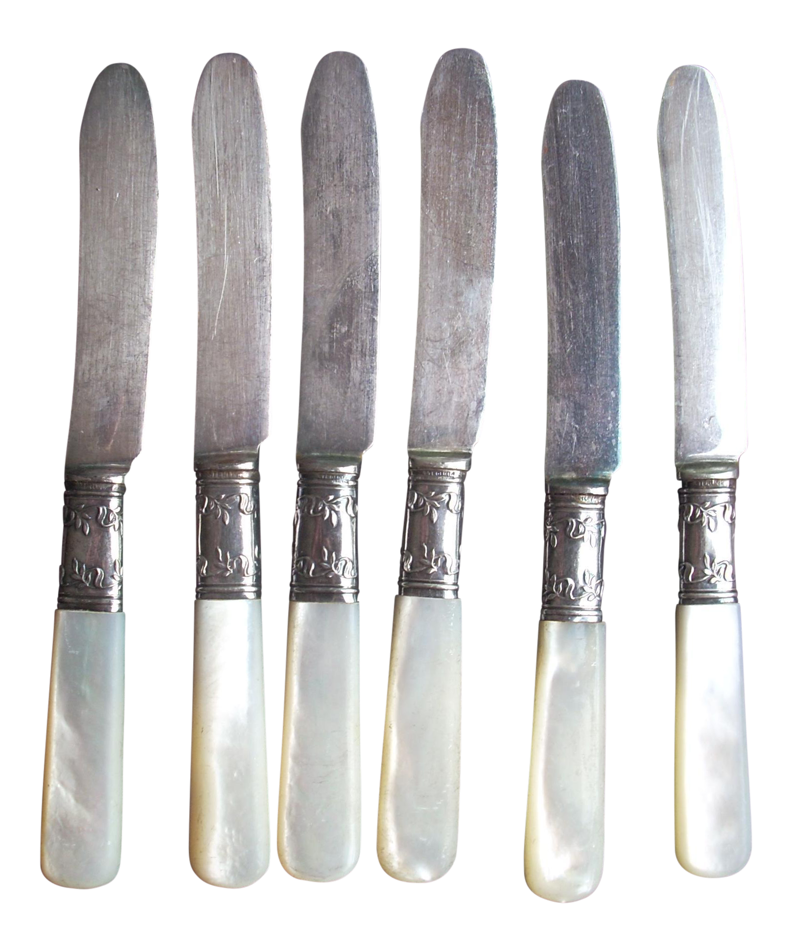 Mother of pearl canape knives set of 6 chairish for Canape knife blades