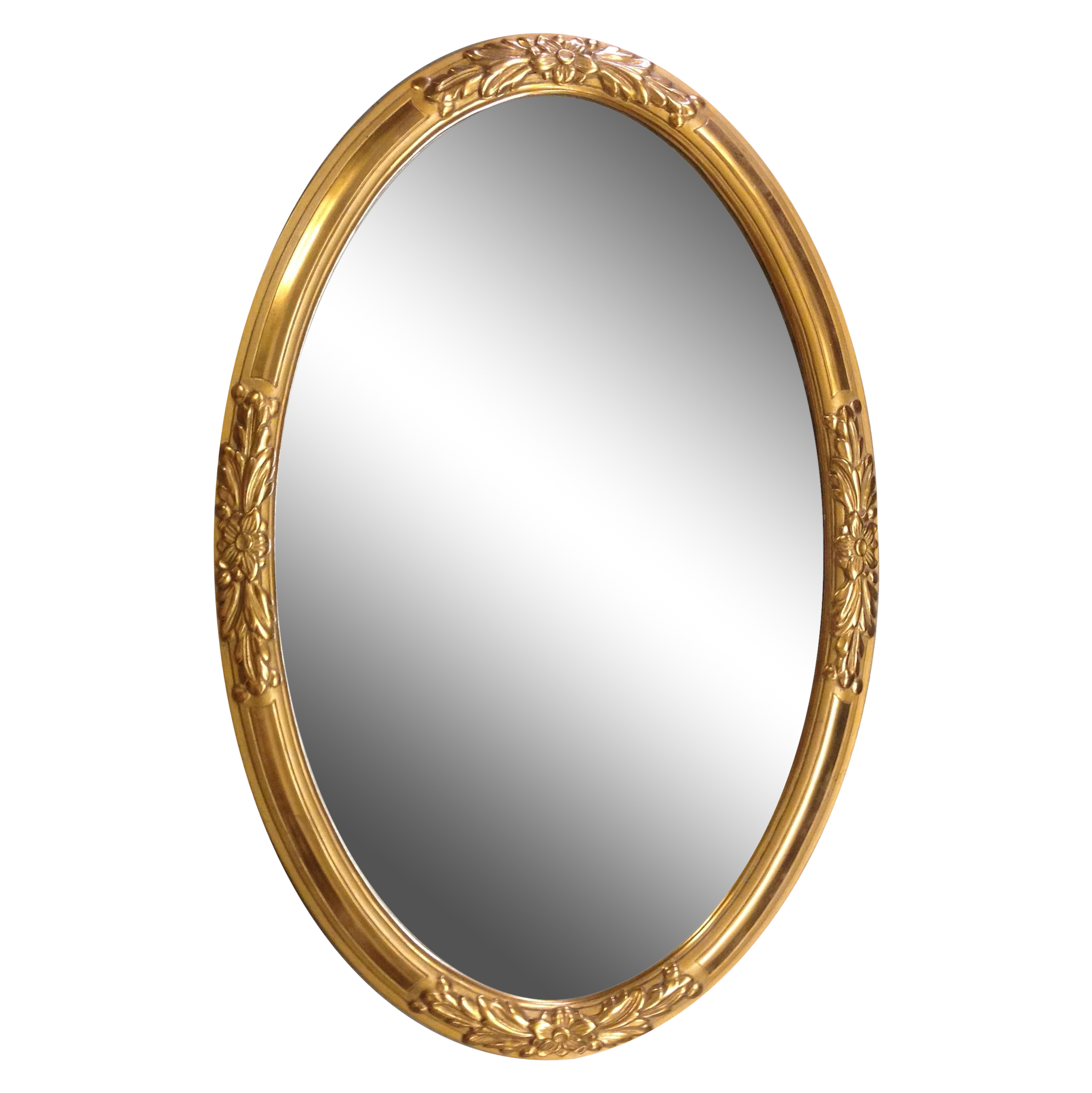 1930s French Gold Wood Framed Oval Mirror Chairish