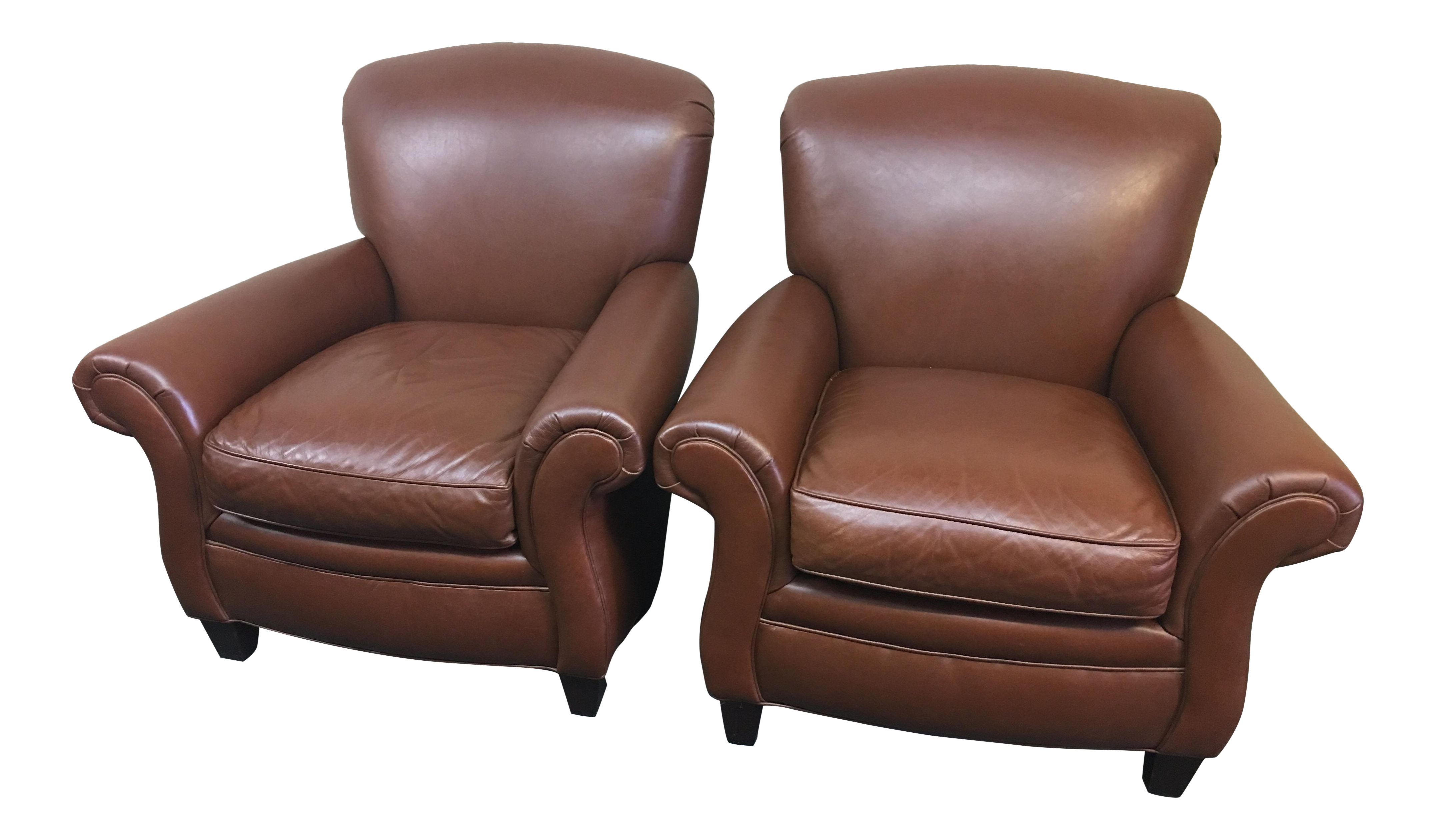 Hancock Amp Moore Leather Club Chairs A Pair Chairish