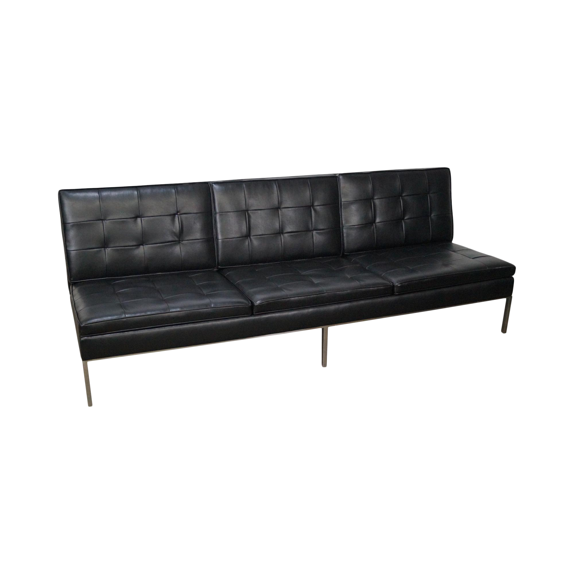 Florence Knoll Mid Century Black Leather Armless Sofa