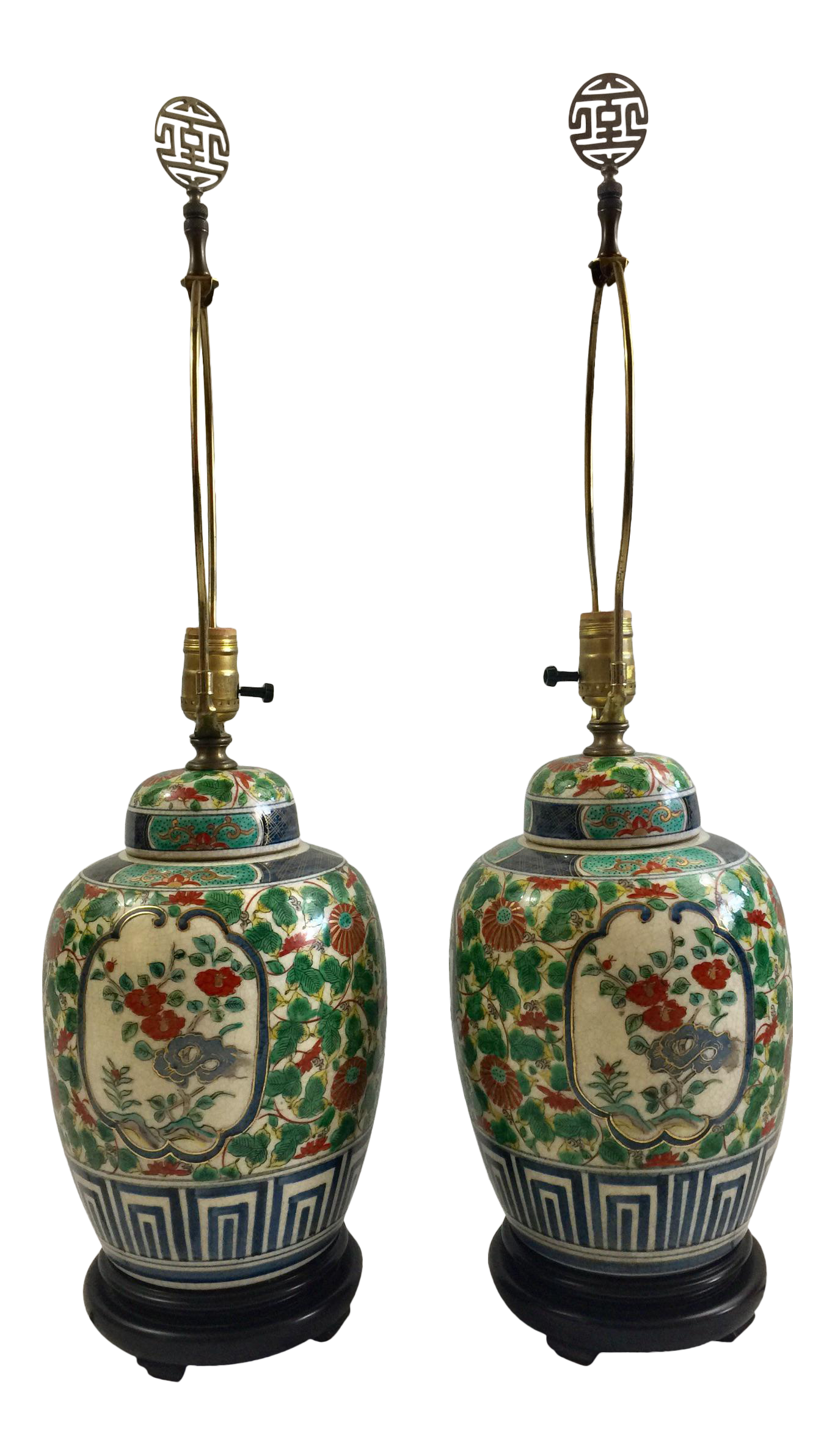 Vintage porcelain ginger jar table lamps a pair chairish geotapseo Gallery
