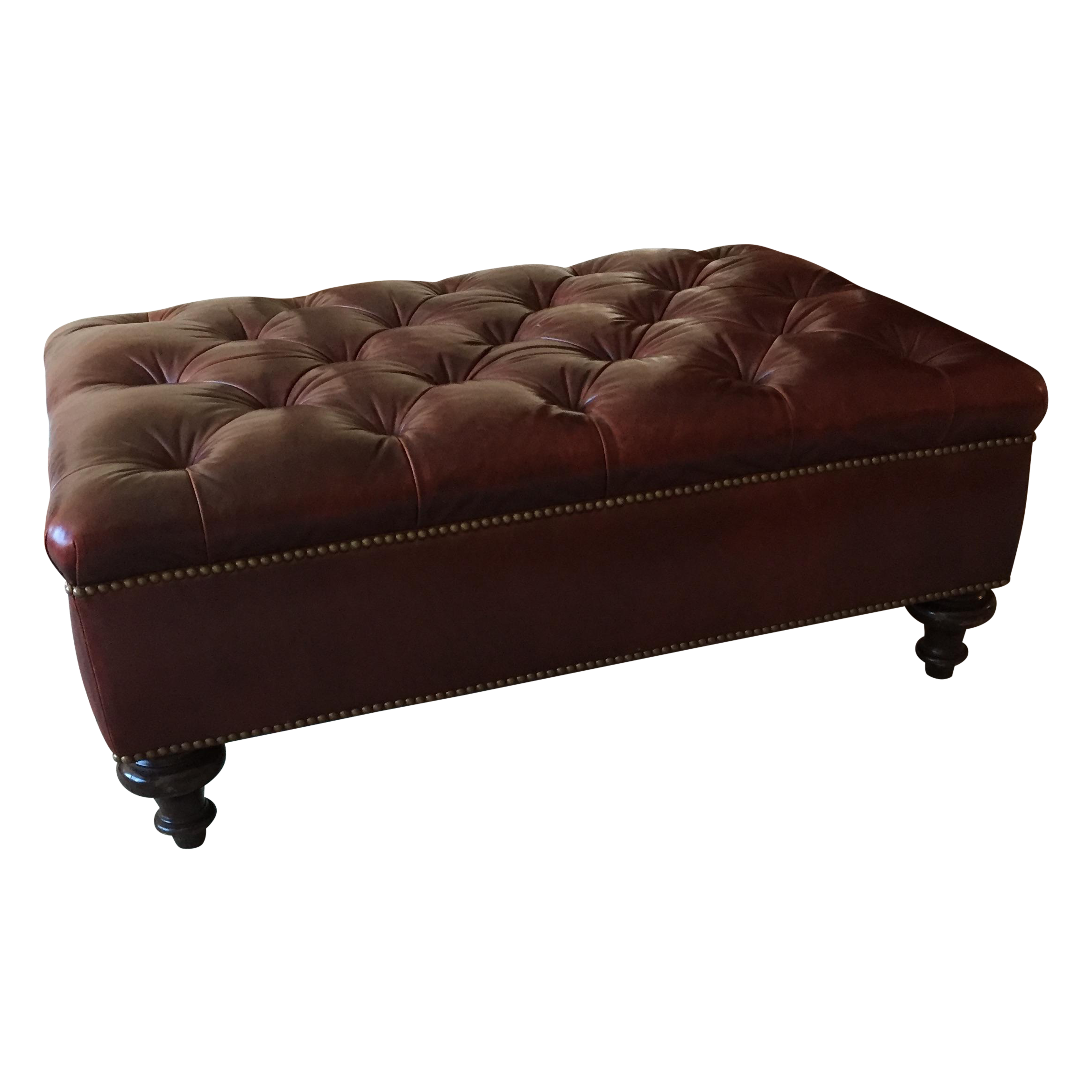 leather ottoman with bunt feet chairish. Black Bedroom Furniture Sets. Home Design Ideas