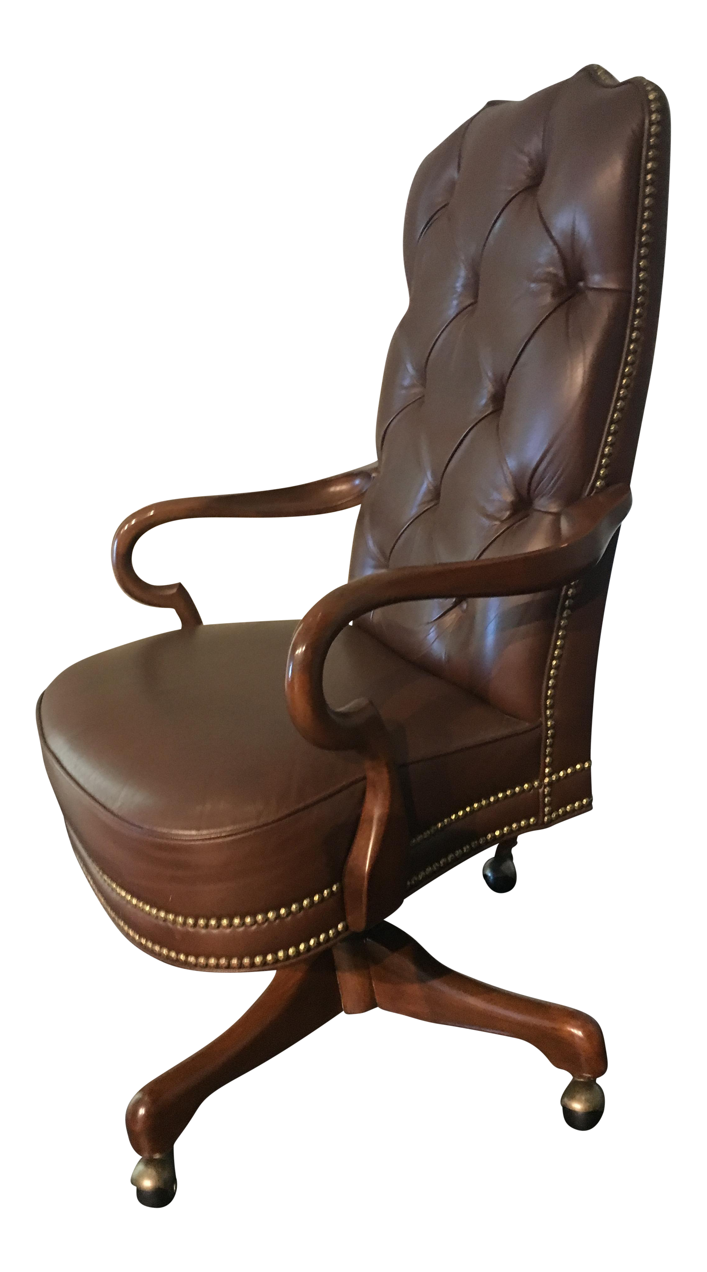 Deep Tufted Glove Leather Studded High Back fice Chair