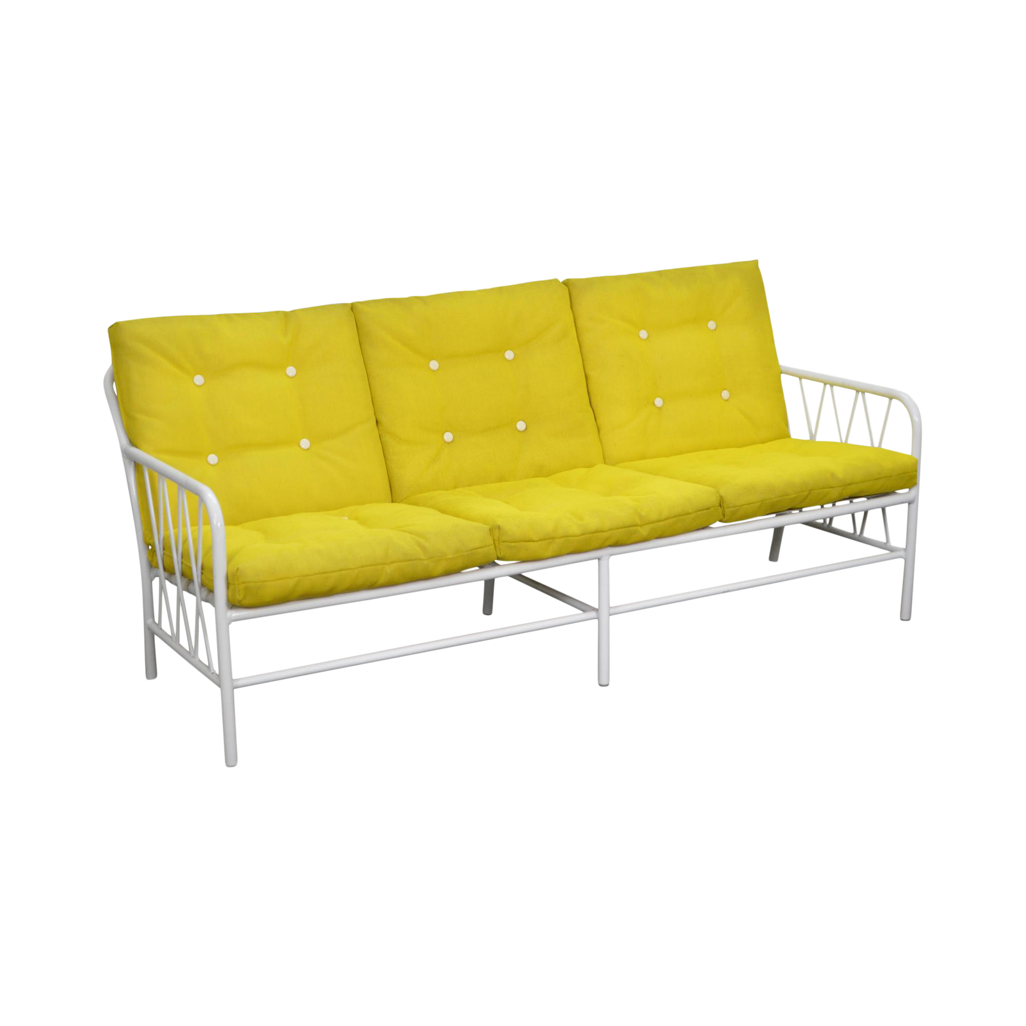 mid century modern brown jordan style white patio sofa w yellow cushions - Mid Century Modern Patio Furniture