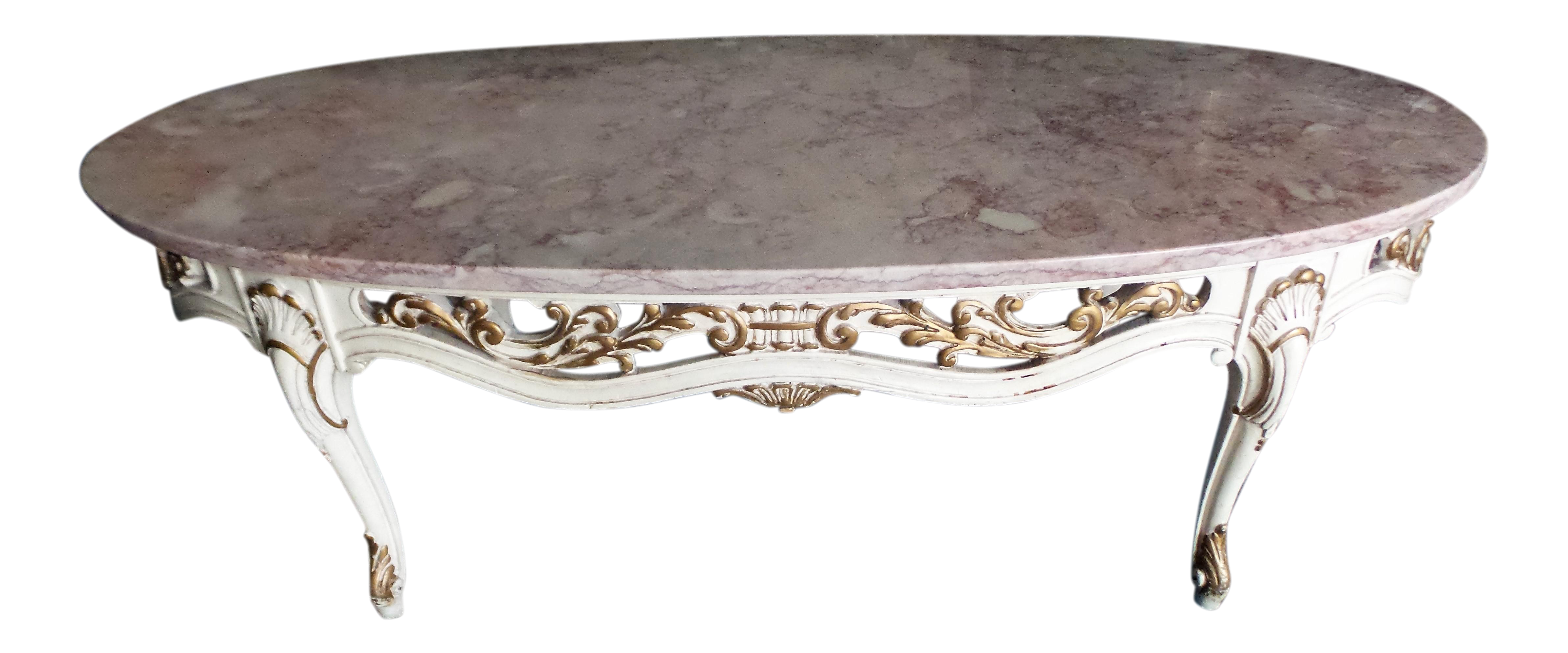 Vintage French Pink Marble Coffee Table