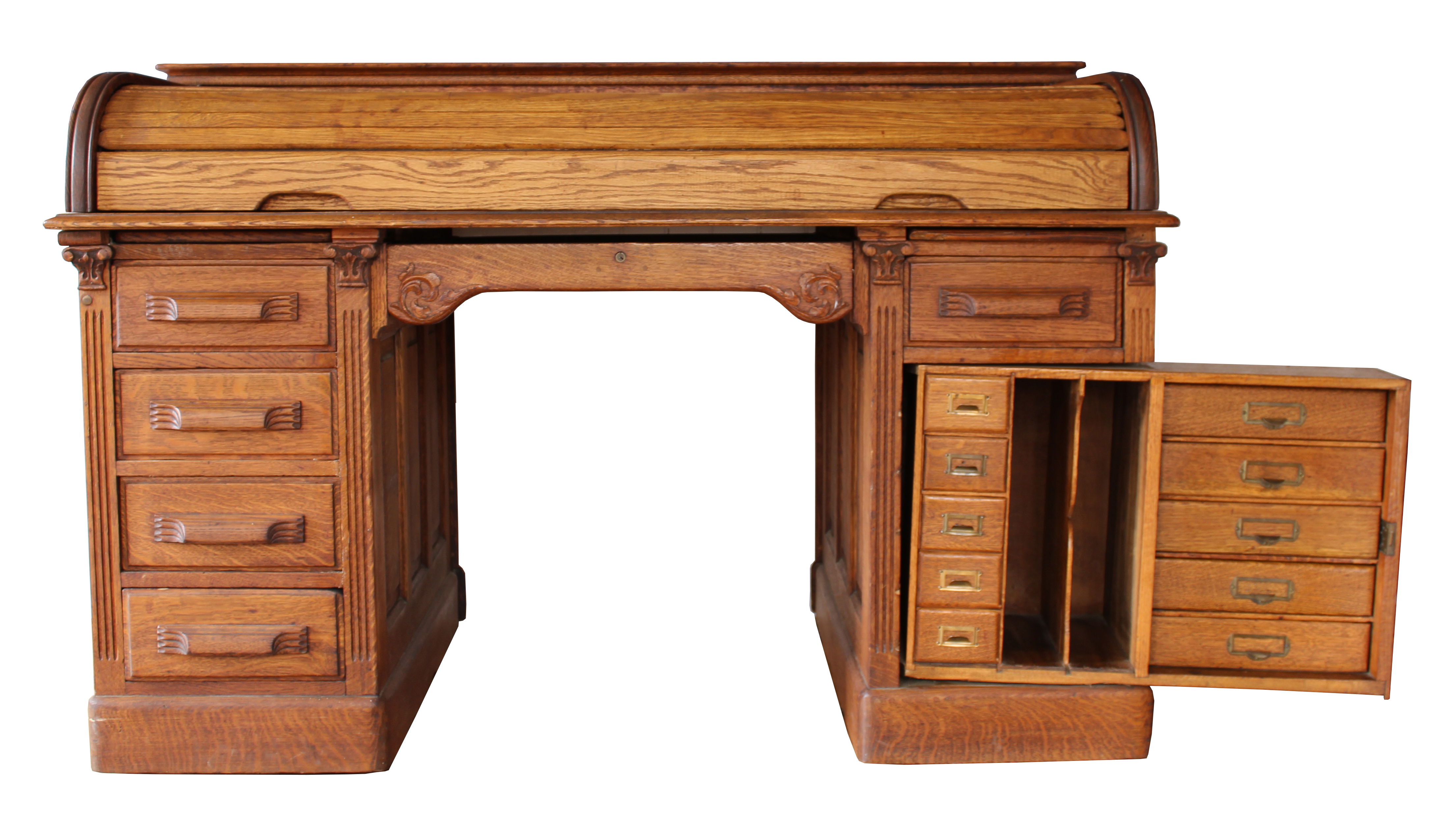Roll top desk with secret compartments chairish Secret drawer